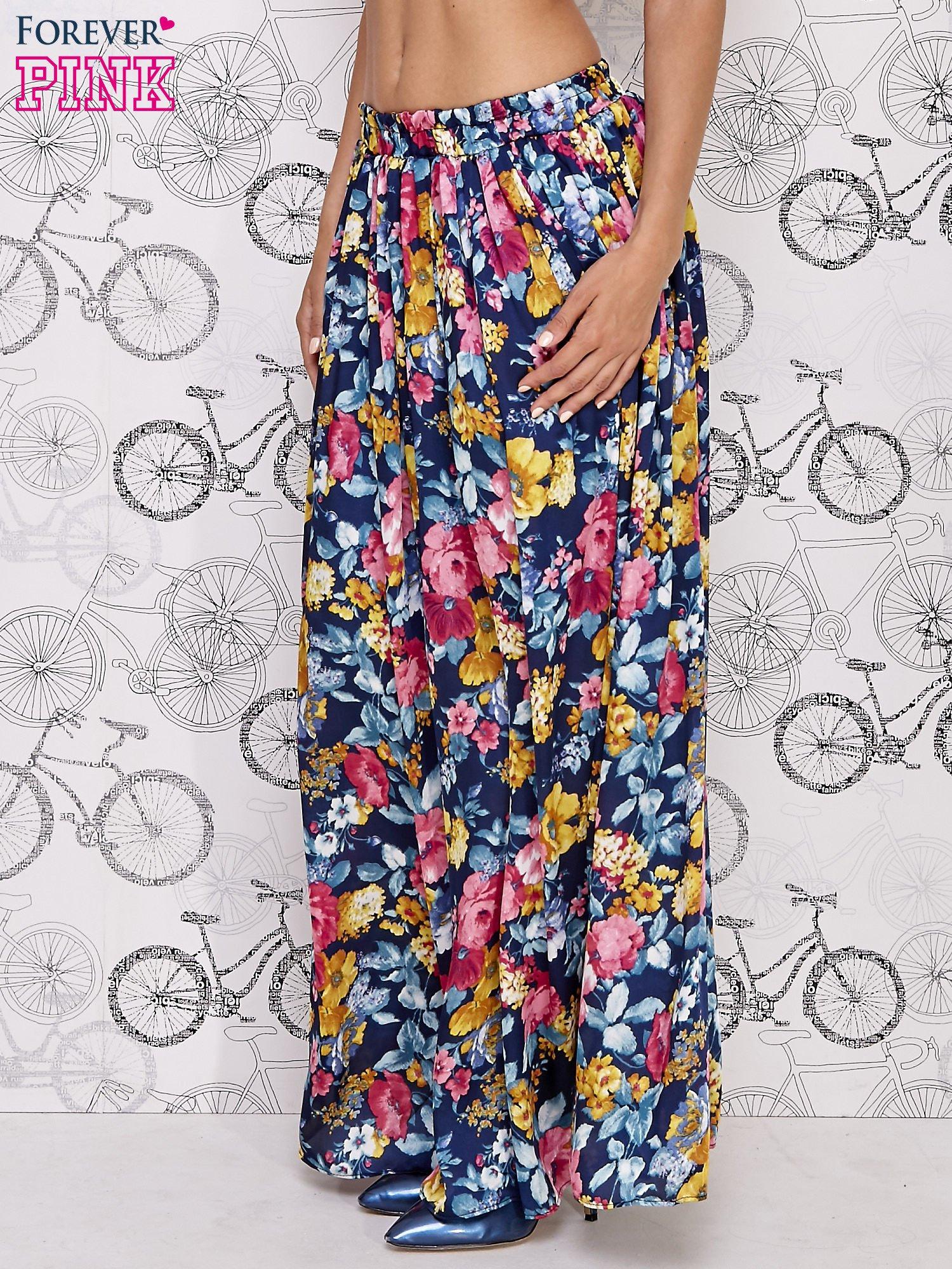 Granatowa spódnica maxi w kwiaty                                  zdj.                                  3