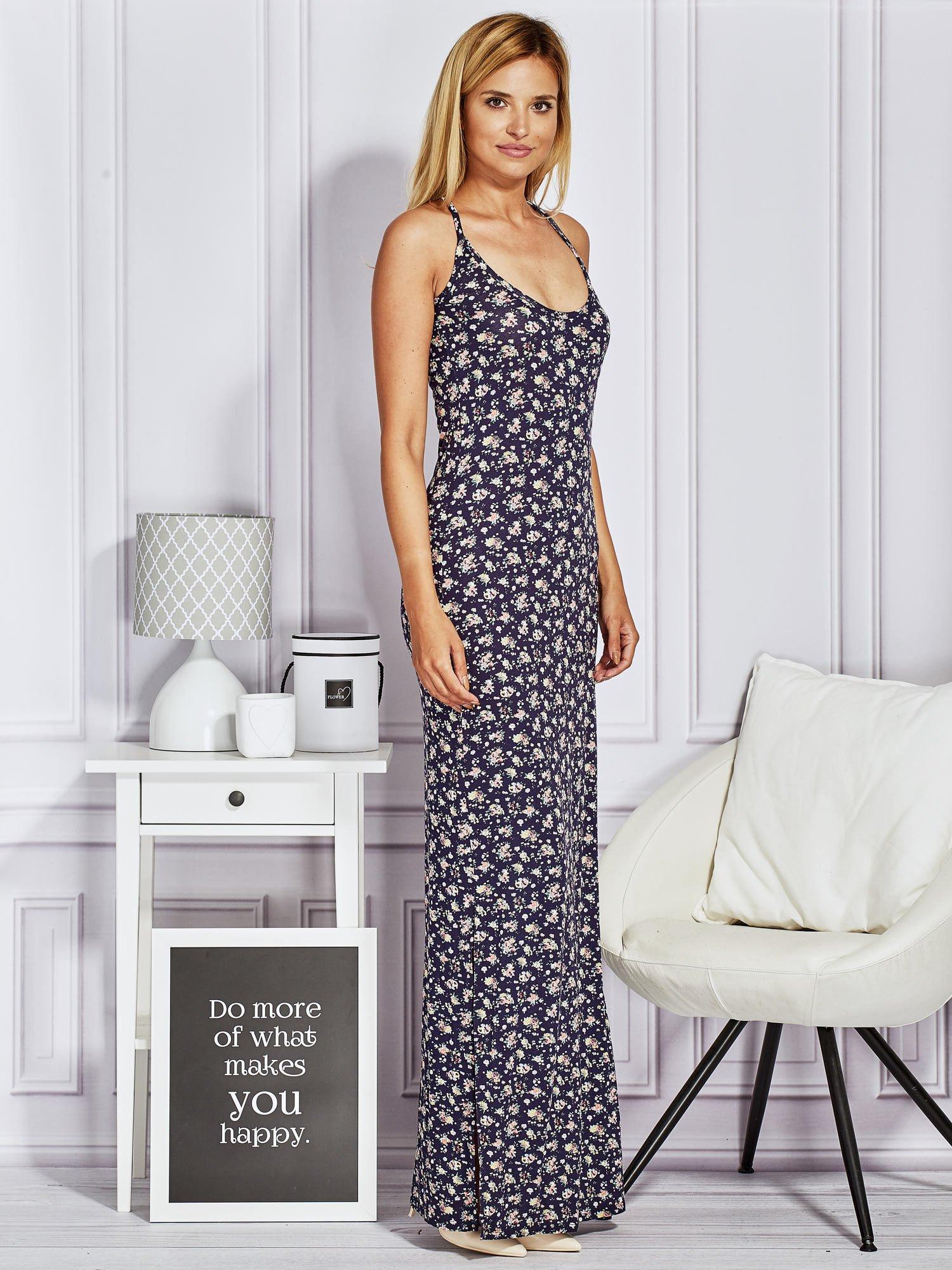Granatowa sukienka maxi na ramiączkach w łączkę                                  zdj.                                  6