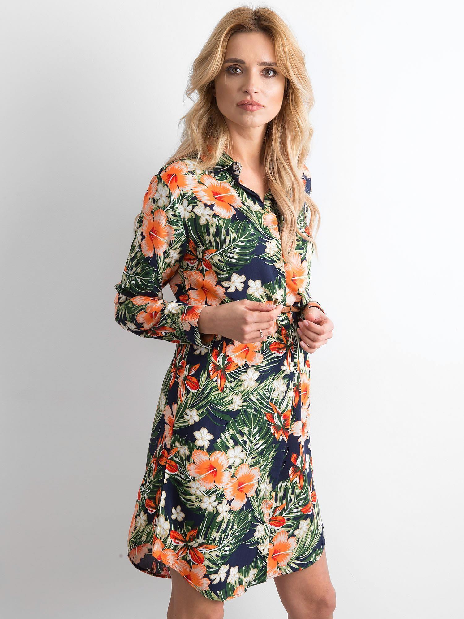 cda13bed39d4a0 Granatowa sukienka szmizjerka w kwiaty - Sukienka szmizjerka - sklep ...