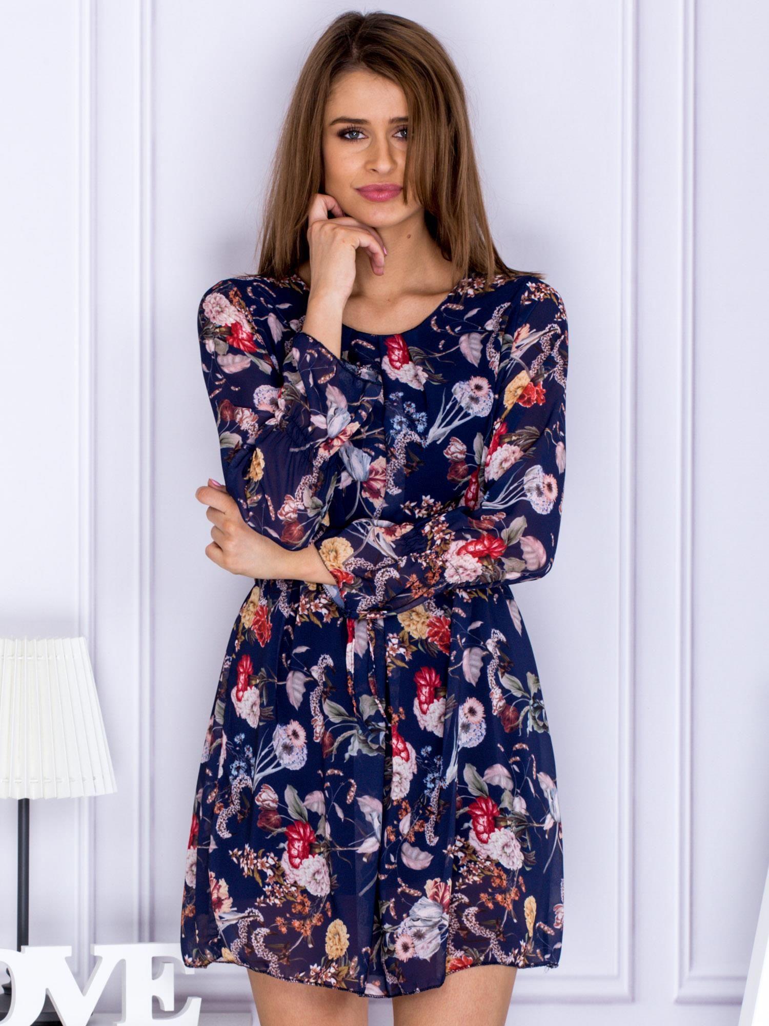 cc393a7c8b84ea Granatowa sukienka w kwiaty z paskiem - Sukienka na co dzień - sklep ...