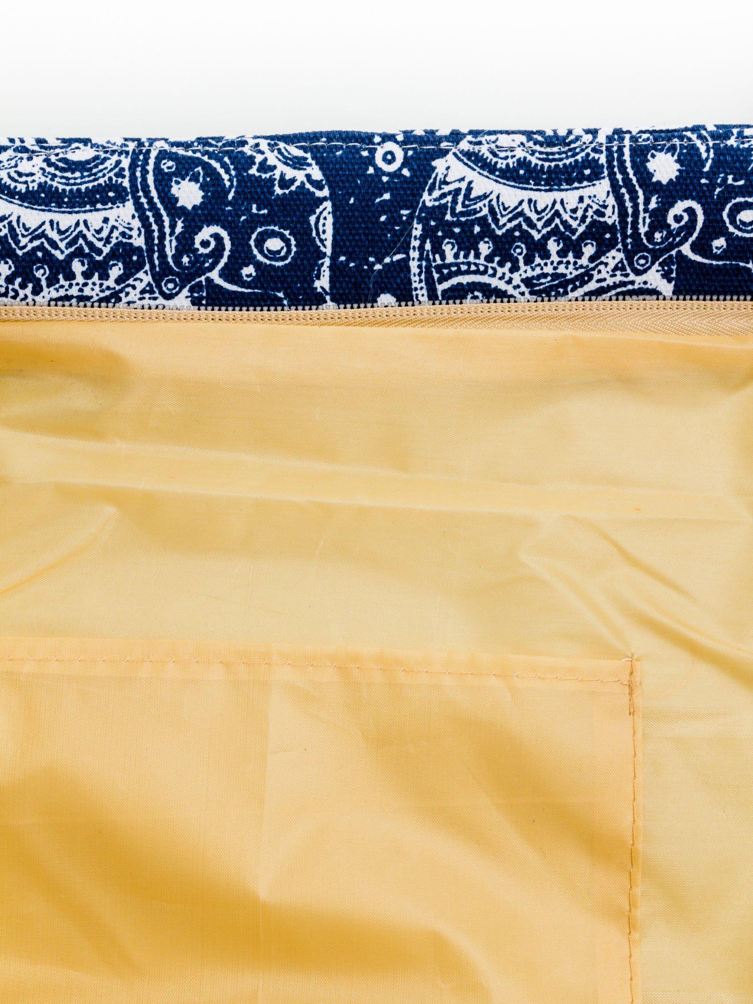 Granatowa torba plażowa w indyjskie wzory                                  zdj.                                  9