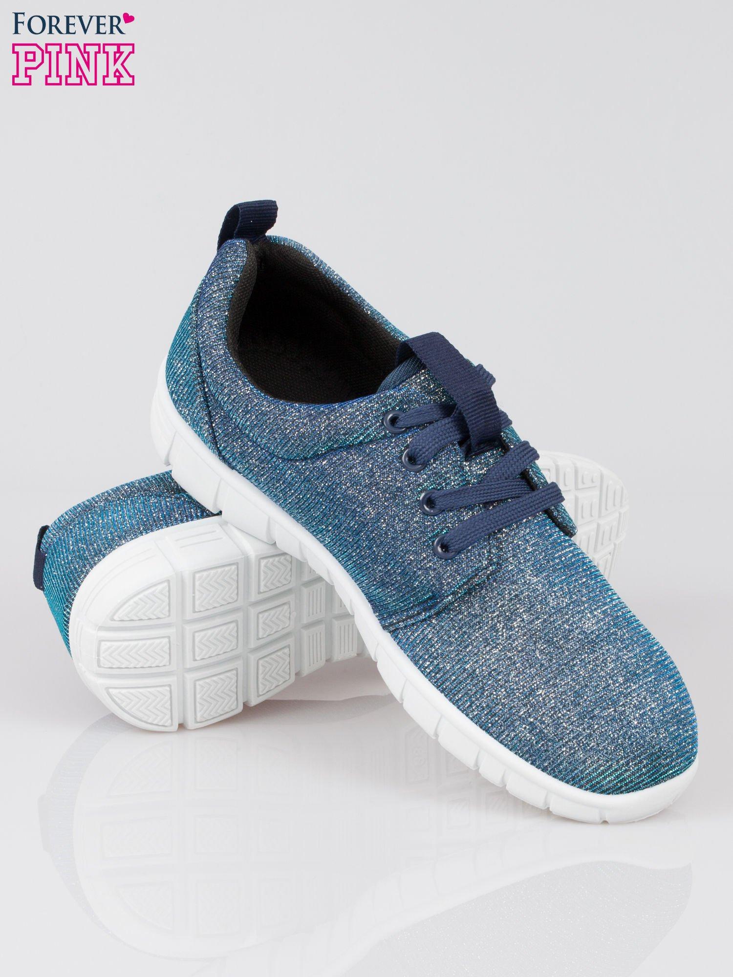 Granatowe buty sportowe textile Diamonds z metaliczną nitką                                  zdj.                                  4