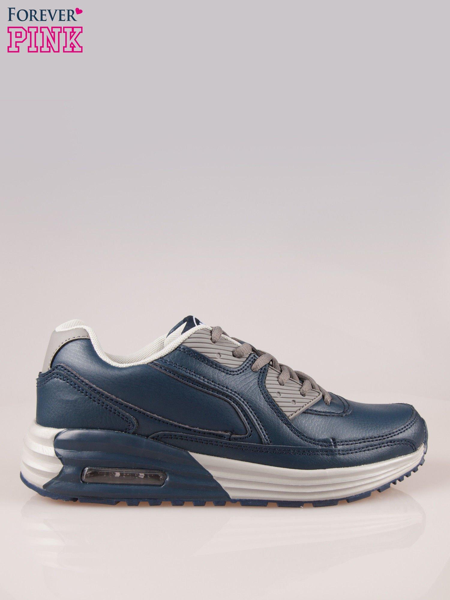 Granatowe buty sportowe z poduszką powietrzną w podeszwie                                  zdj.                                  1