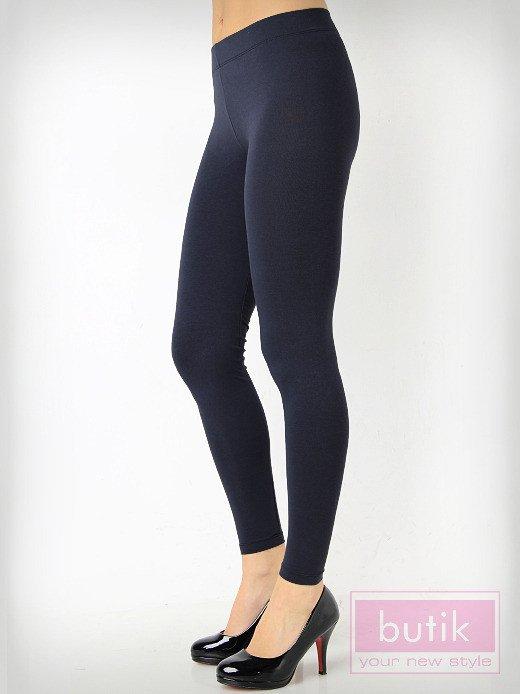 Granatowe gładkie legginsy bawełniane                                  zdj.                                  2