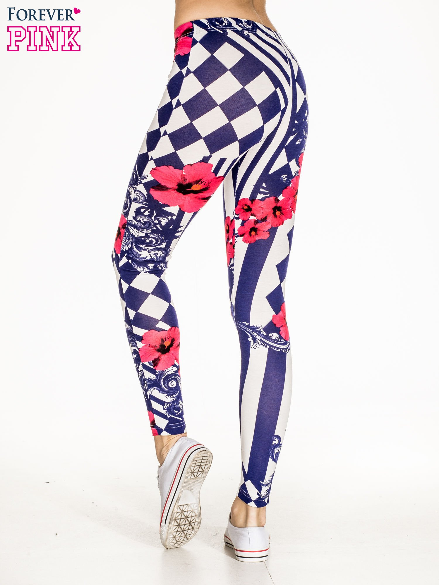 Granatowe legginsy z nadrukiem mix patterns                                  zdj.                                  4