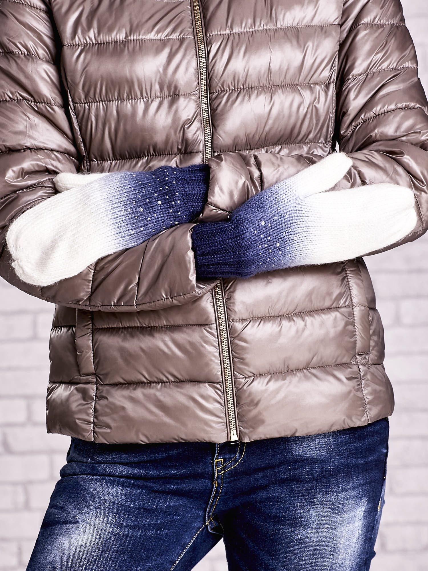 Granatowe rękawiczki z dżetami i efektem ombre                                  zdj.                                  3