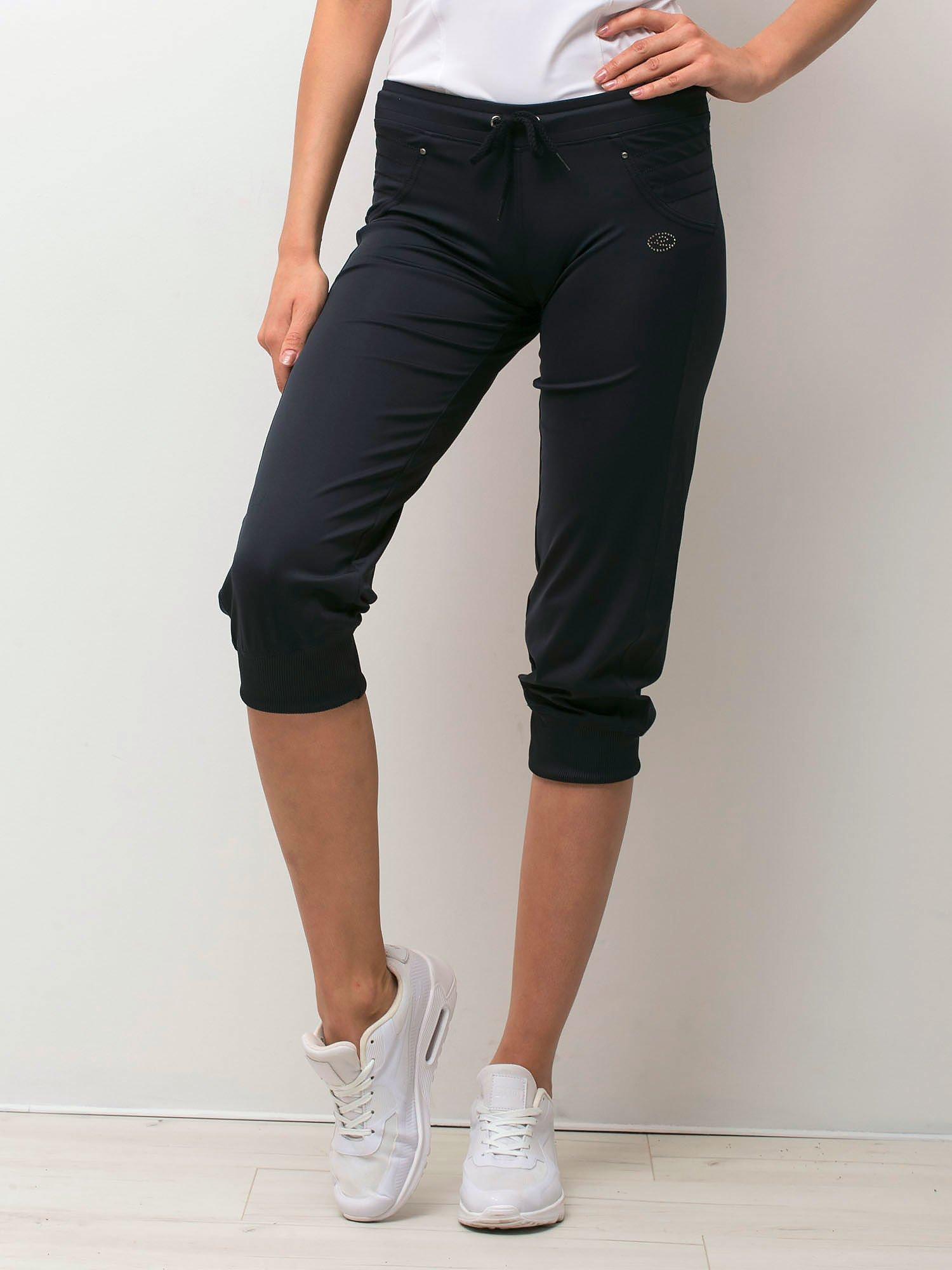 Granatowe spodnie capri z aplikacją                                  zdj.                                  1