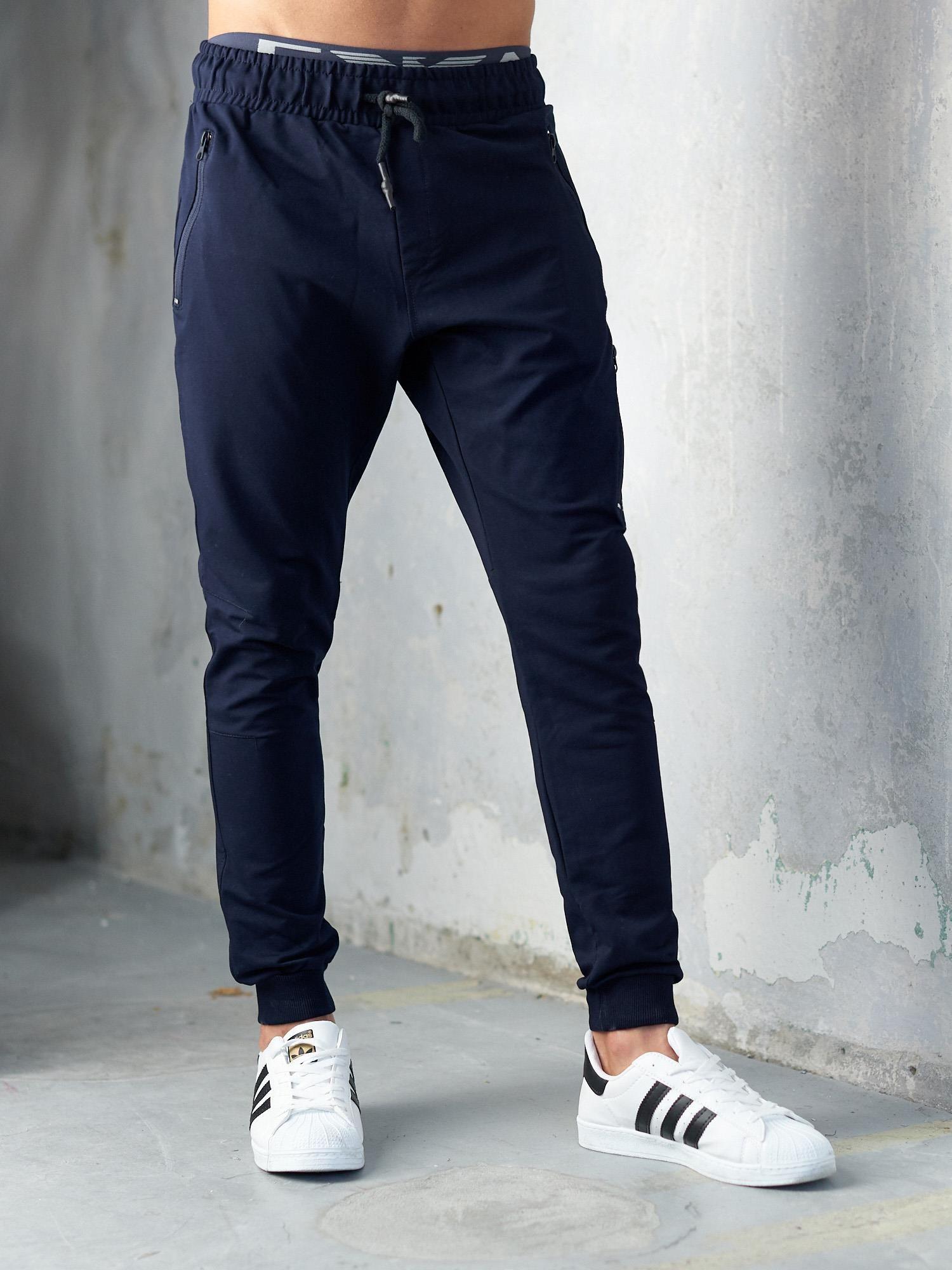najnowszy nowe style ceny odprawy Granatowe spodnie dresowe męskie slim fit