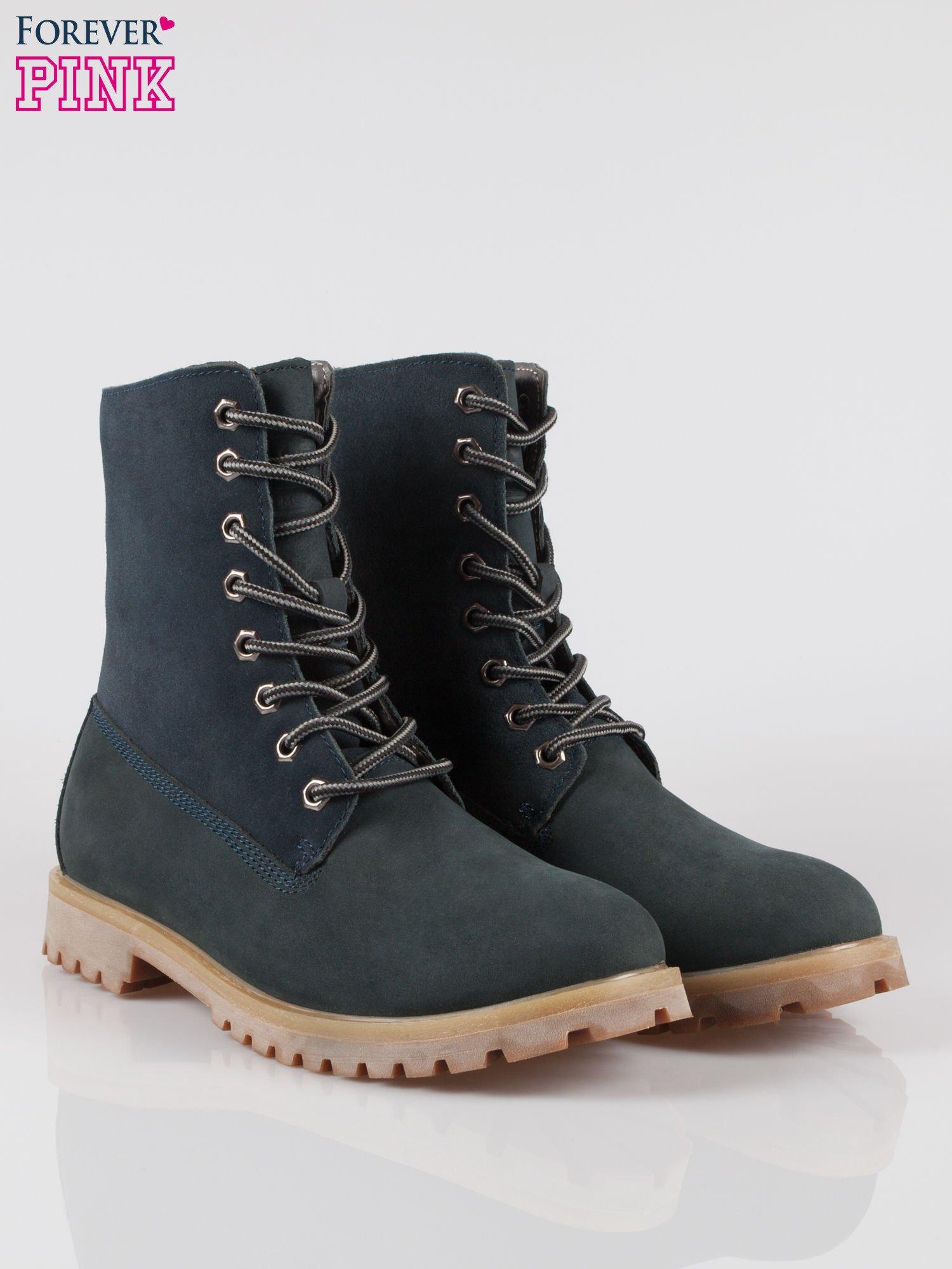 Granatowe wysokie buty trekkingowe traperki damskie ze skóry naturalnej                                  zdj.                                  2