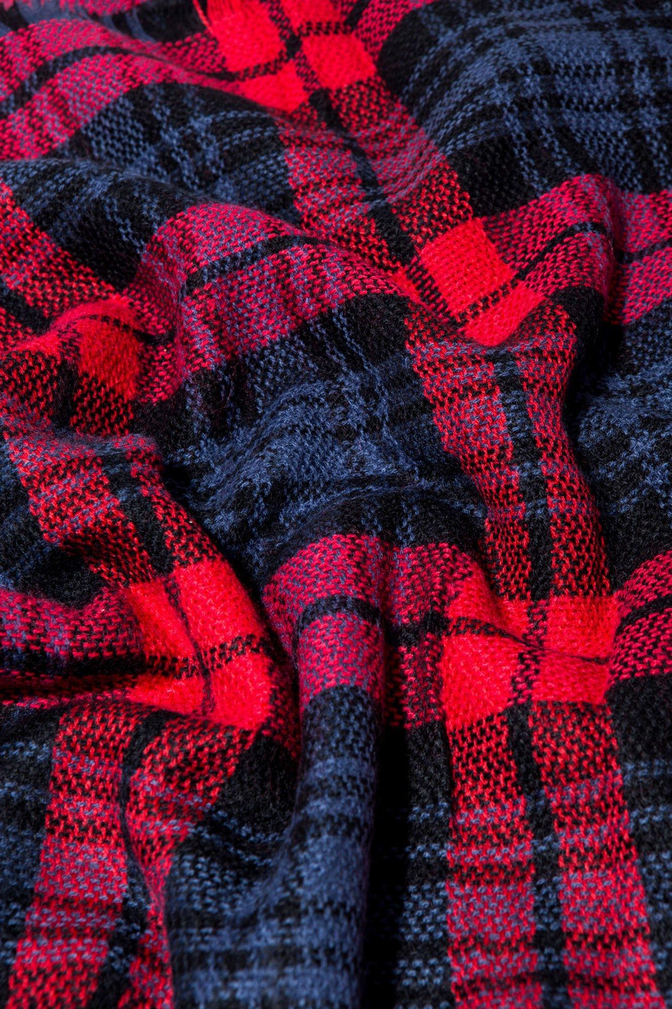 Granatowo-czerwony szalik damski w kratę                                  zdj.                                  12