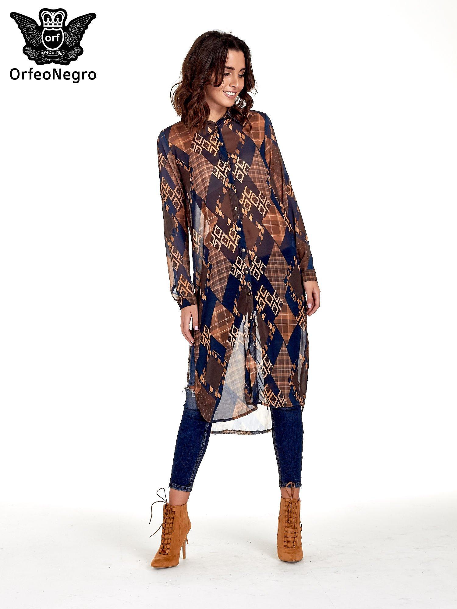 Granatowo-pomarańczowa długa koszula mgiełka w patchworkowy print                                  zdj.                                  1