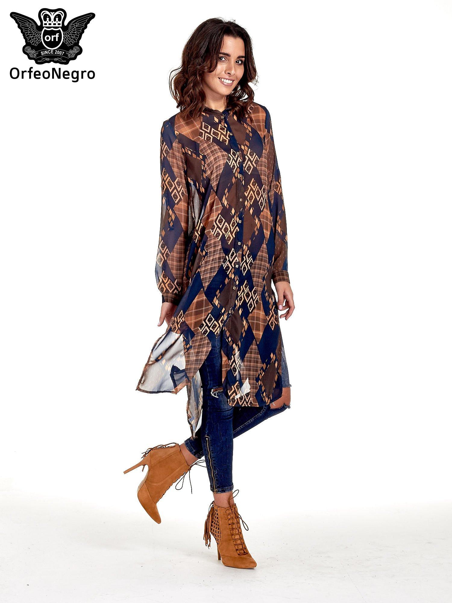 Granatowo-pomarańczowa długa koszula mgiełka w patchworkowy print                                  zdj.                                  7