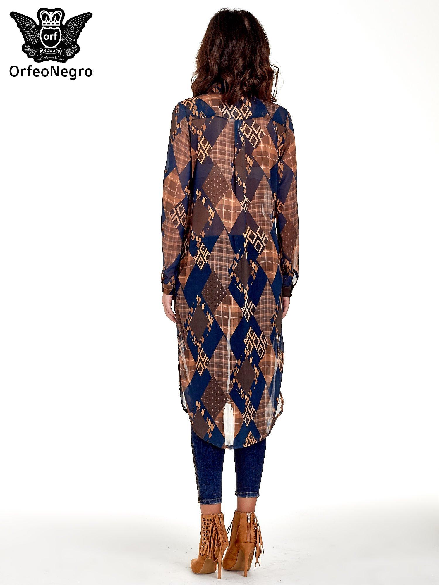 Granatowo-pomarańczowa długa koszula mgiełka w patchworkowy print                                  zdj.                                  4
