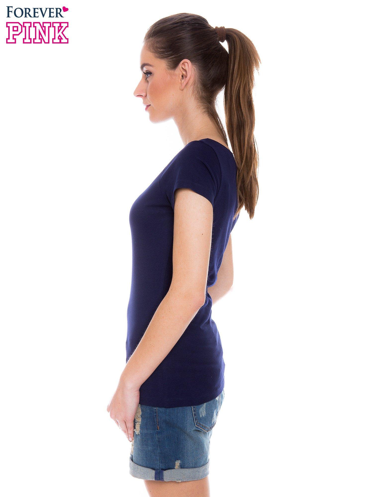 Granatowy basicowy t-shirt z okrągłym dekoltem                                  zdj.                                  2