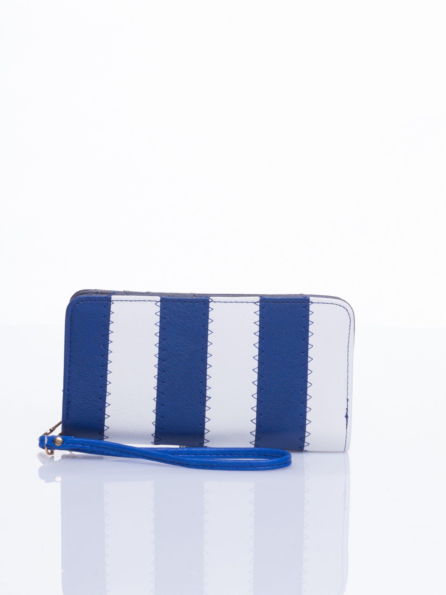 Granatowy portfel w paski                                  zdj.                                  1