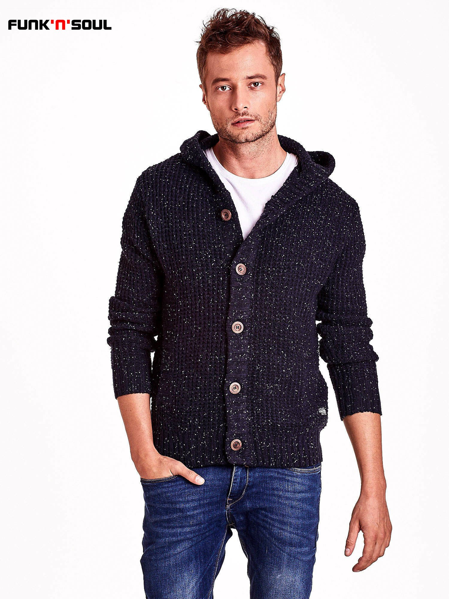 Granatowy sweter męski z kapturem FUNK N SOUL                                  zdj.                                  2