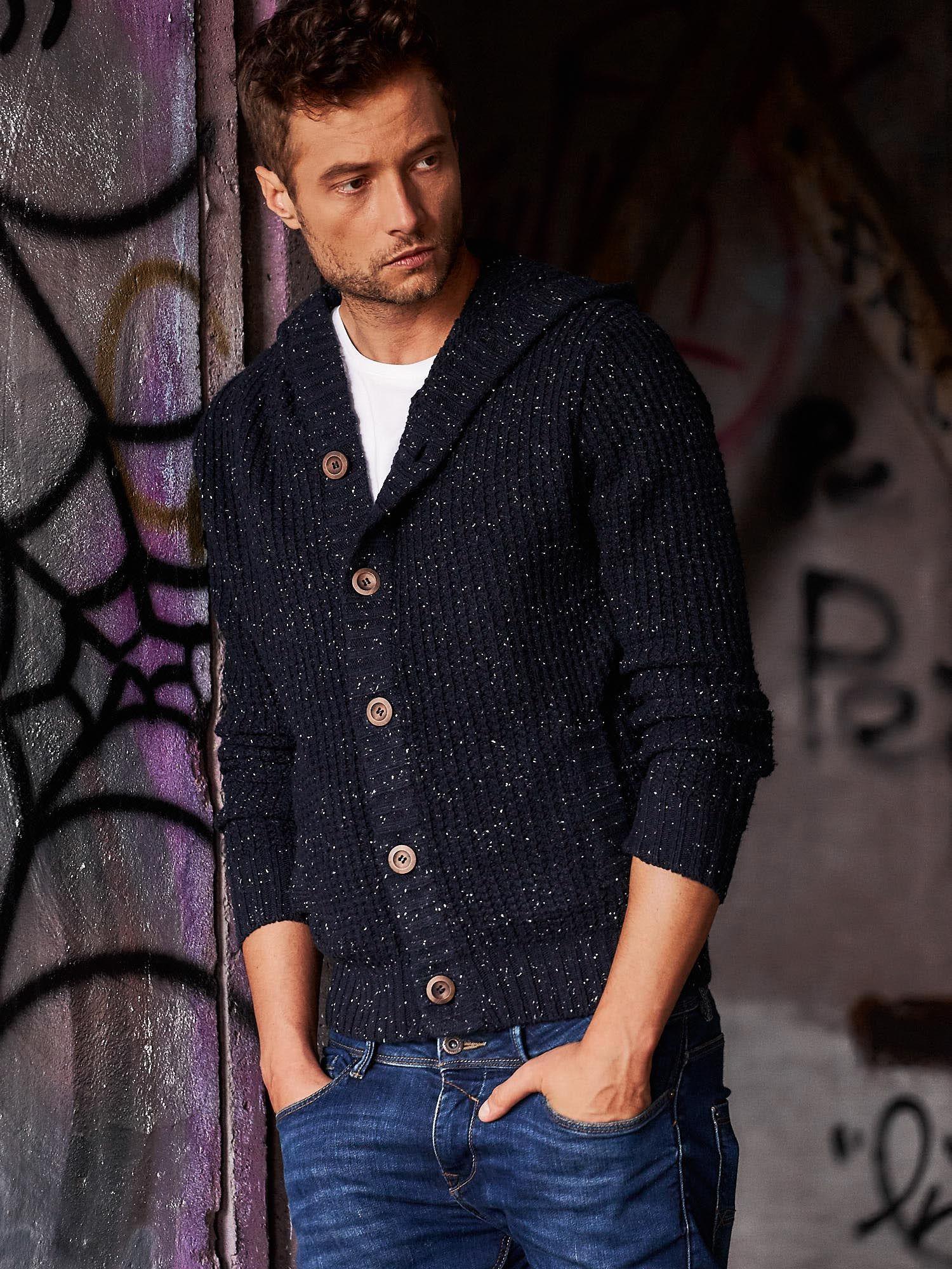 Granatowy sweter męski z kapturem FUNK N SOUL                                  zdj.                                  1