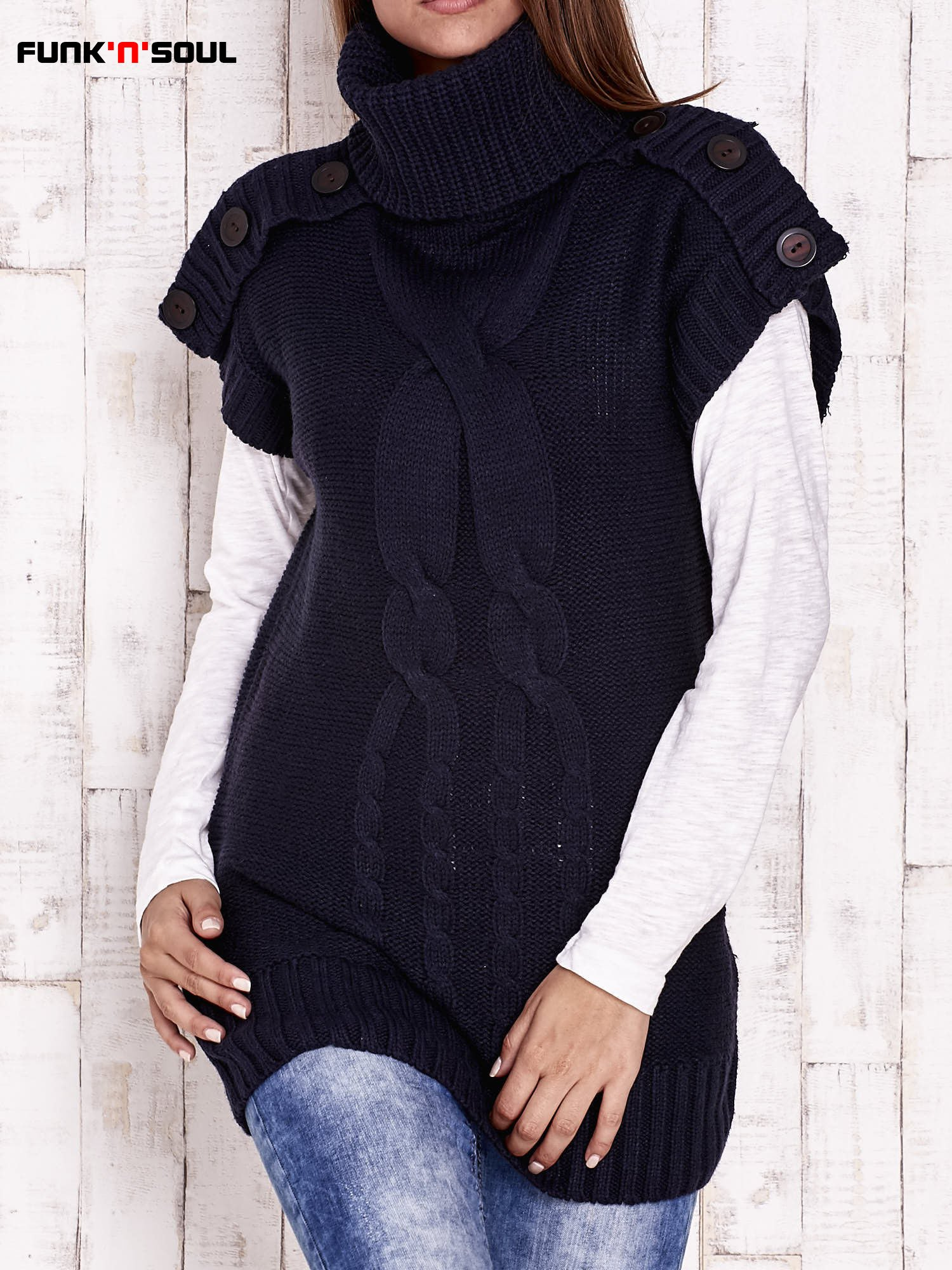 Granatowy sweter z golfem FUNK N SOUL                                  zdj.                                  1