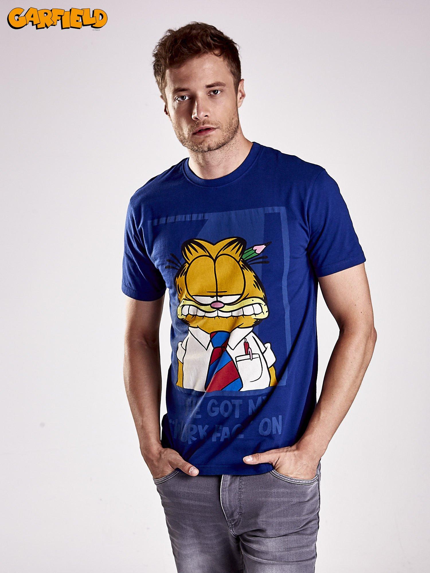 Granatowy t-shirt męski GARFIELD                                  zdj.                                  1