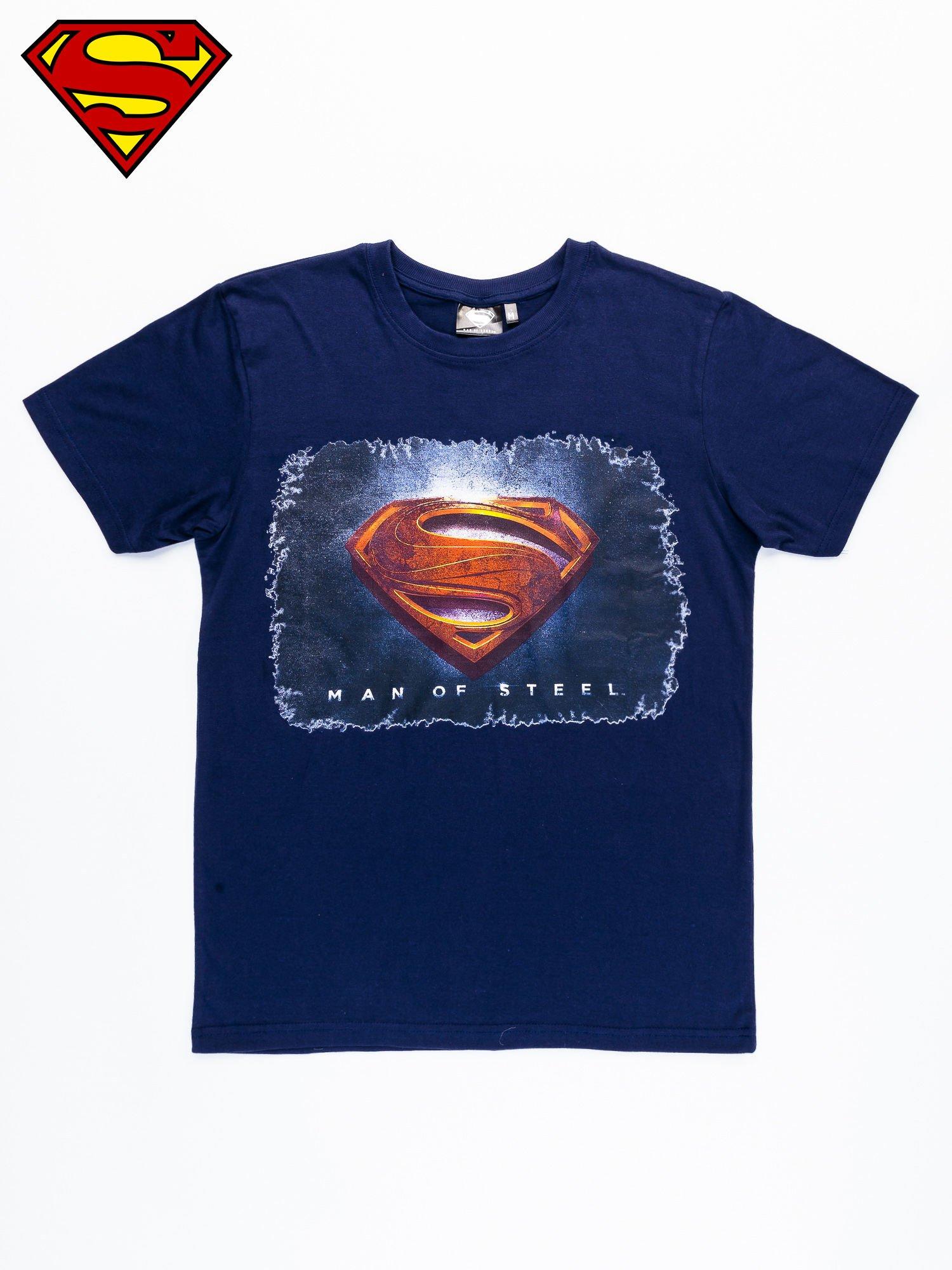 Granatowy t-shirt męski MAN OF STEEL                                  zdj.                                  8