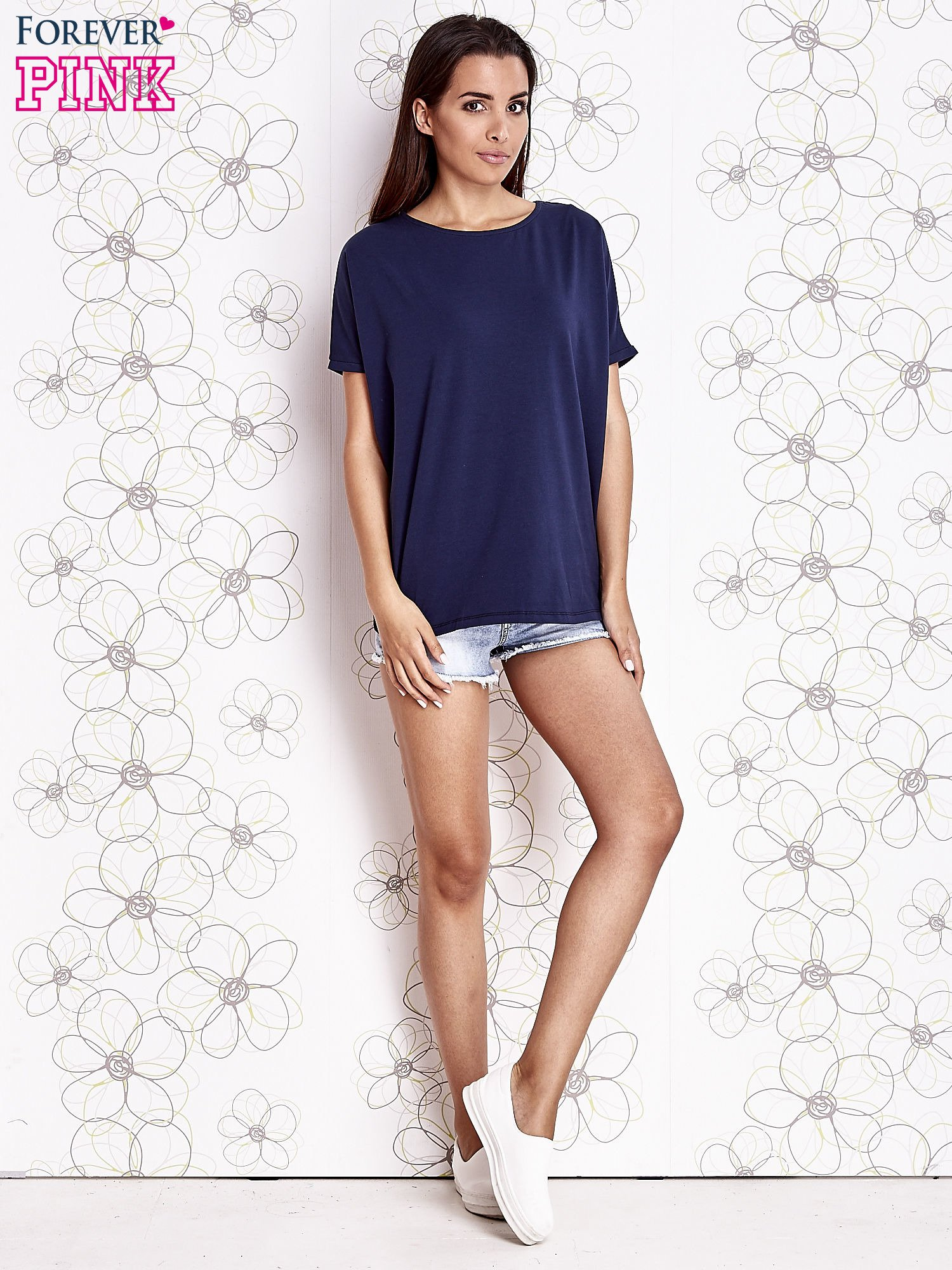 Granatowy t-shirt oversize                                  zdj.                                  2