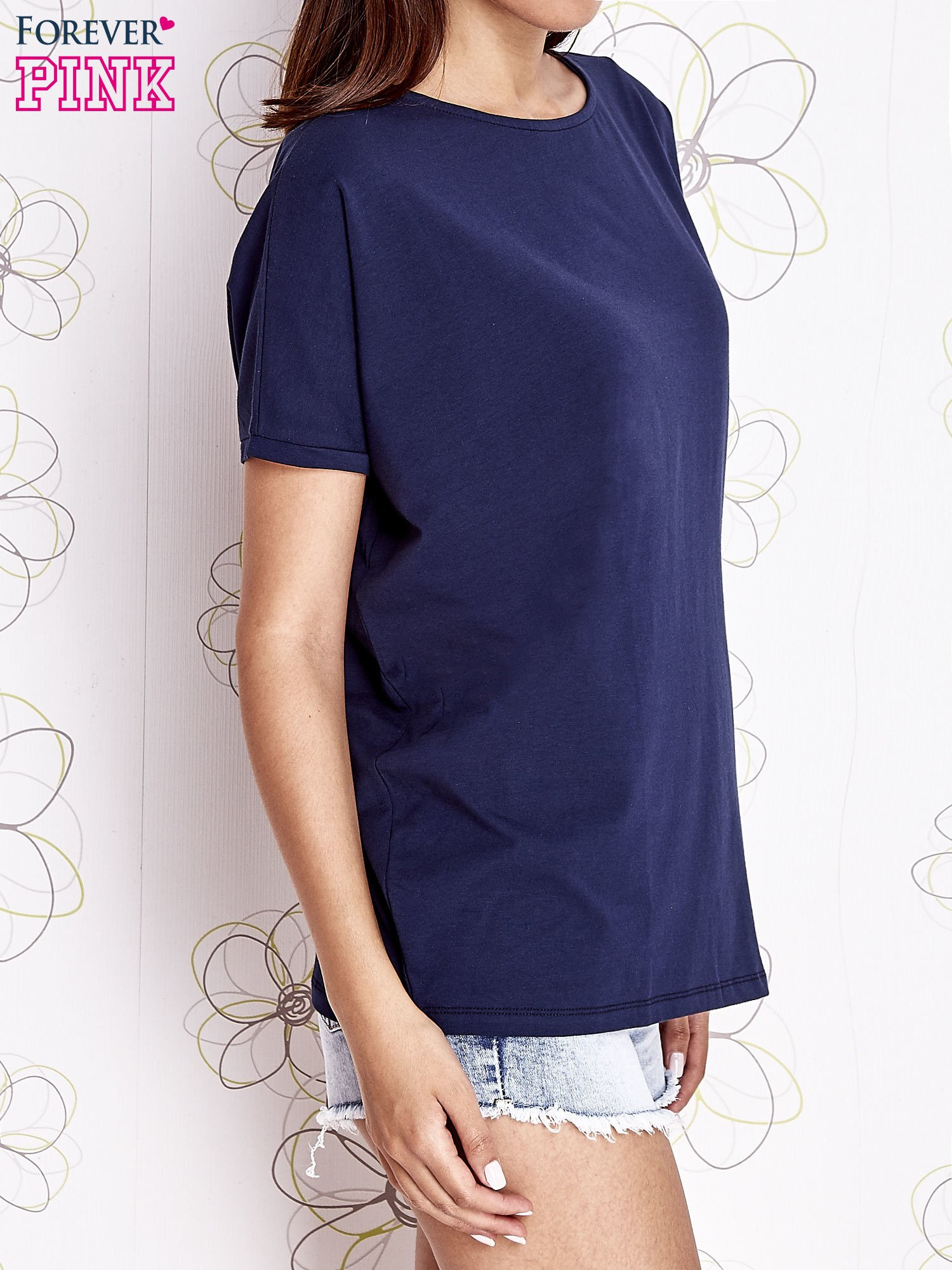 Granatowy t-shirt oversize                                  zdj.                                  3