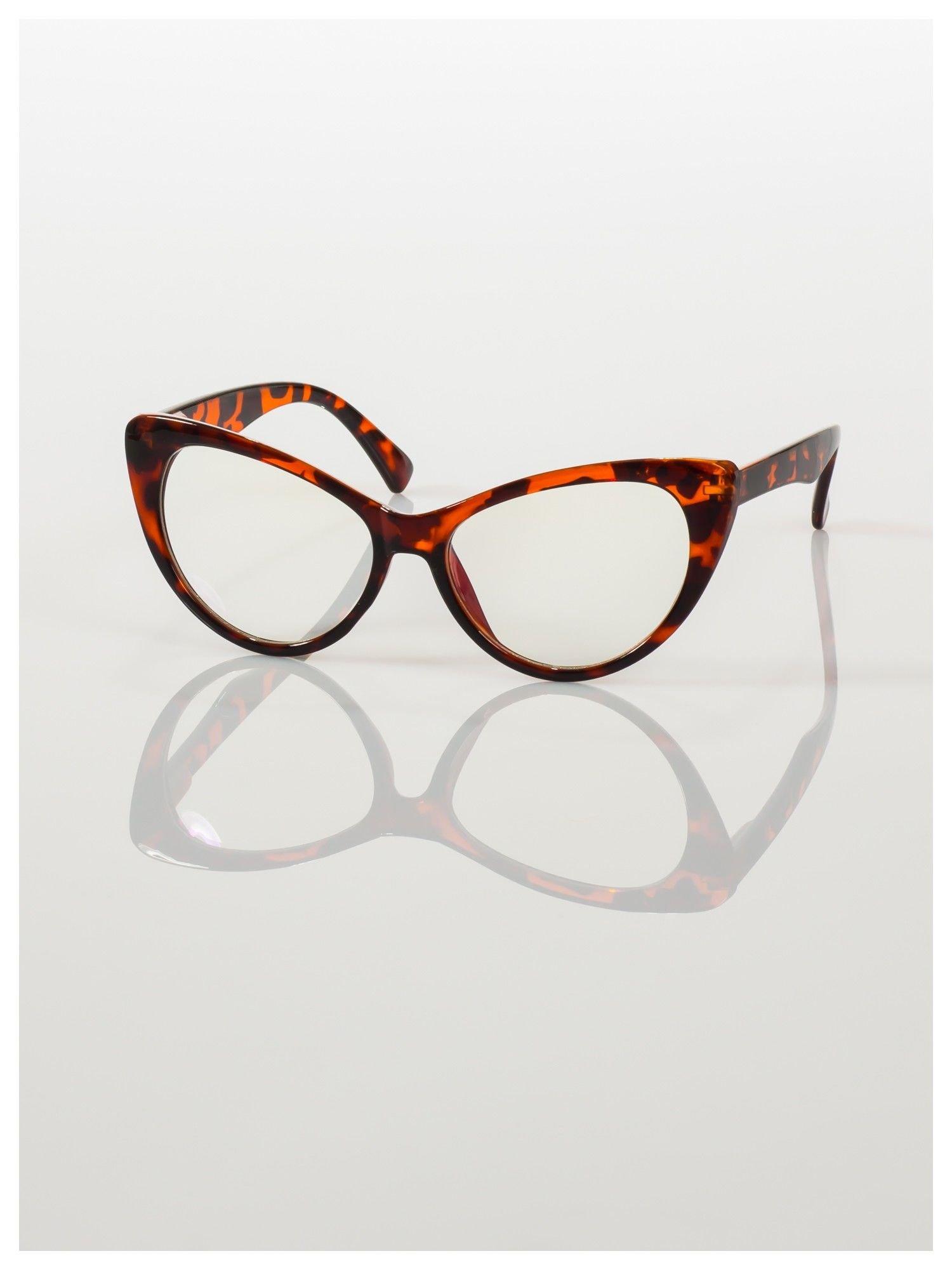 HIT 2016 Modne okulary zerówki typu KOCIE OCZY w stylu Marlin Monroe; soczewki ANTYREFLEKS+system FLEX na zausznikach                                  zdj.                                  6
