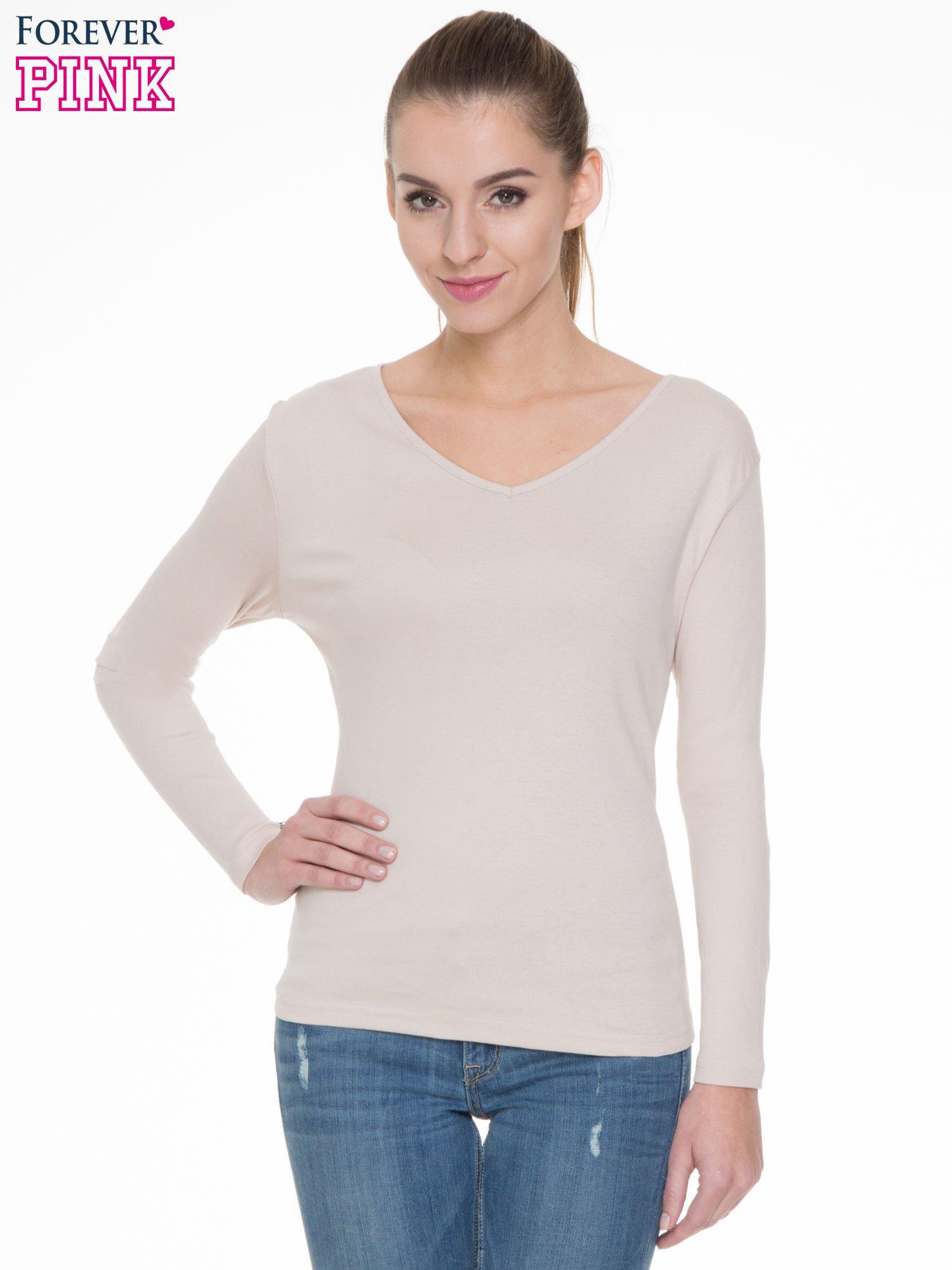 Jasnobeżowa bluzka z długim rękawem z bawełny                                  zdj.                                  1