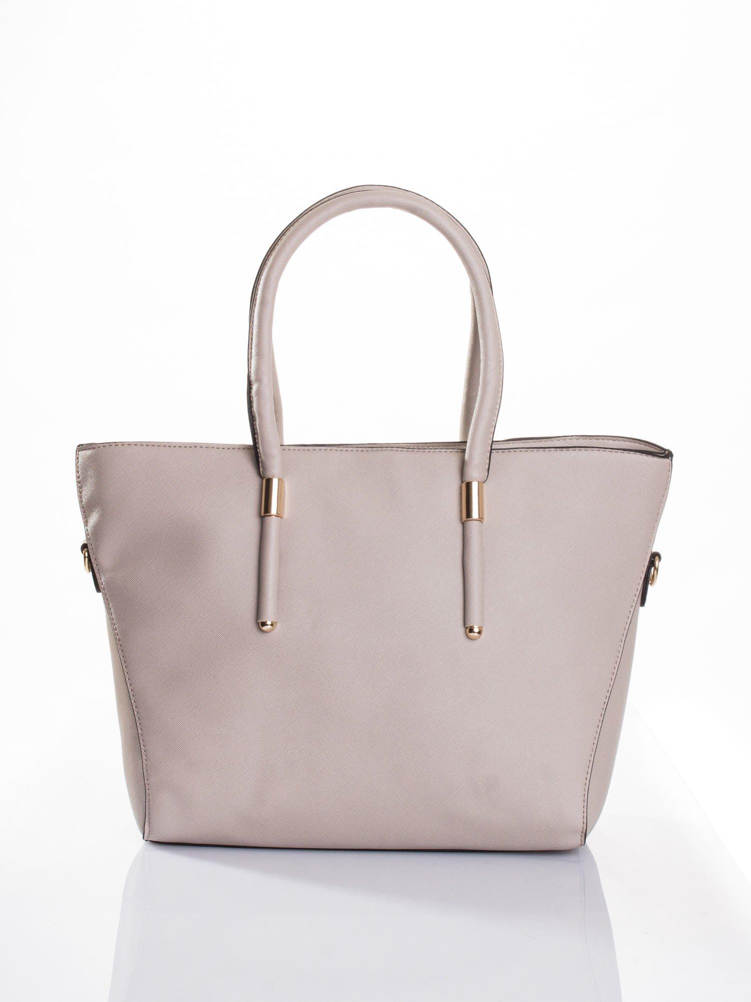 Jasnobeżowa torba shopper efekt saffiano                                  zdj.                                  1