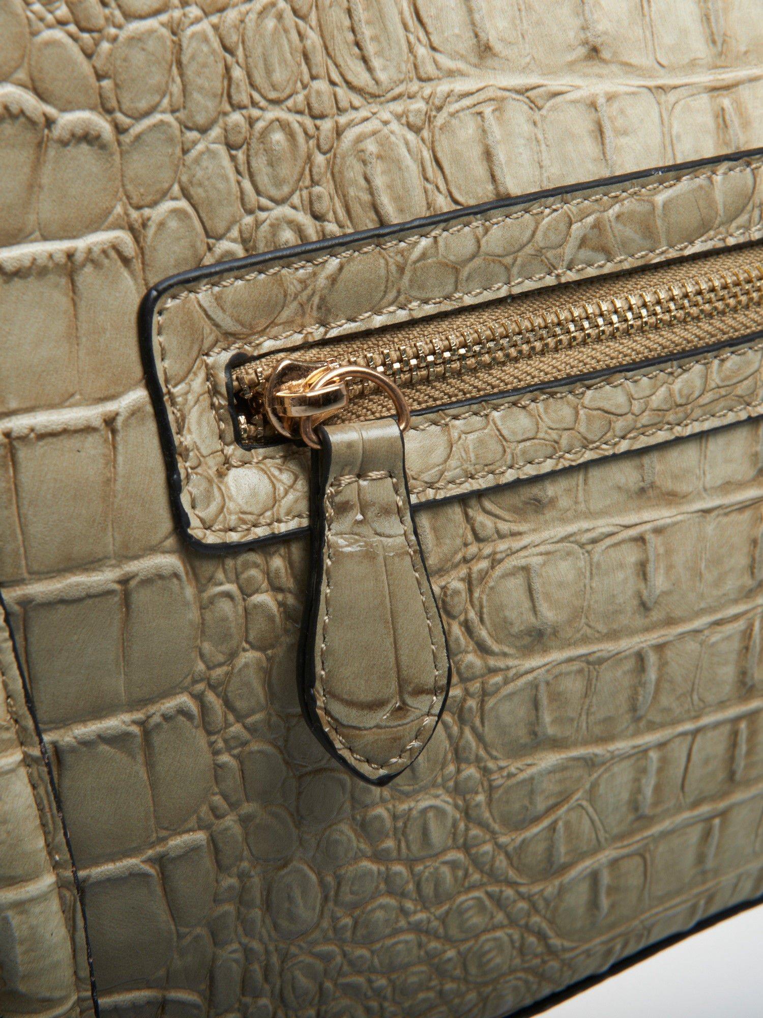 Jasnobeżowa trapezowa torba miejska z efektem skóry krokodyla                                  zdj.                                  5