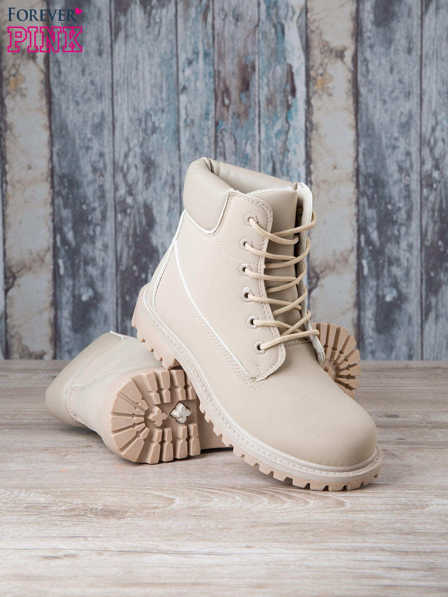 Jasnobeżowe jednolite buty trekkingowe damskie Westie traperki ocieplane                                  zdj.                                  4