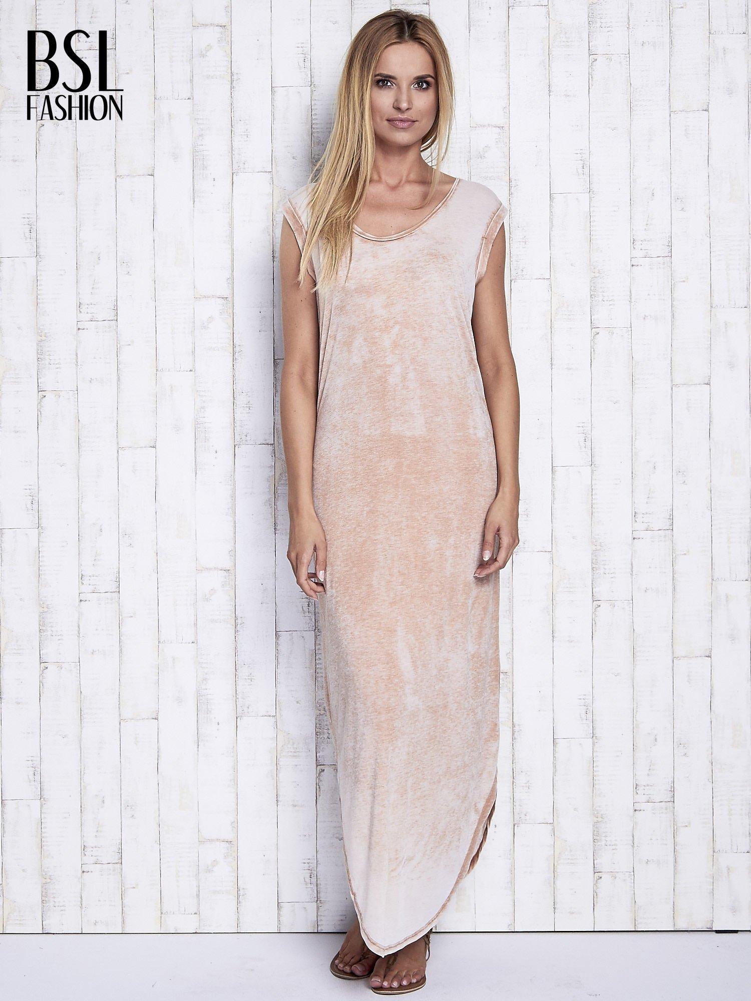 Jasnobrązowa długa sukienka acid wash                                   zdj.                                  4