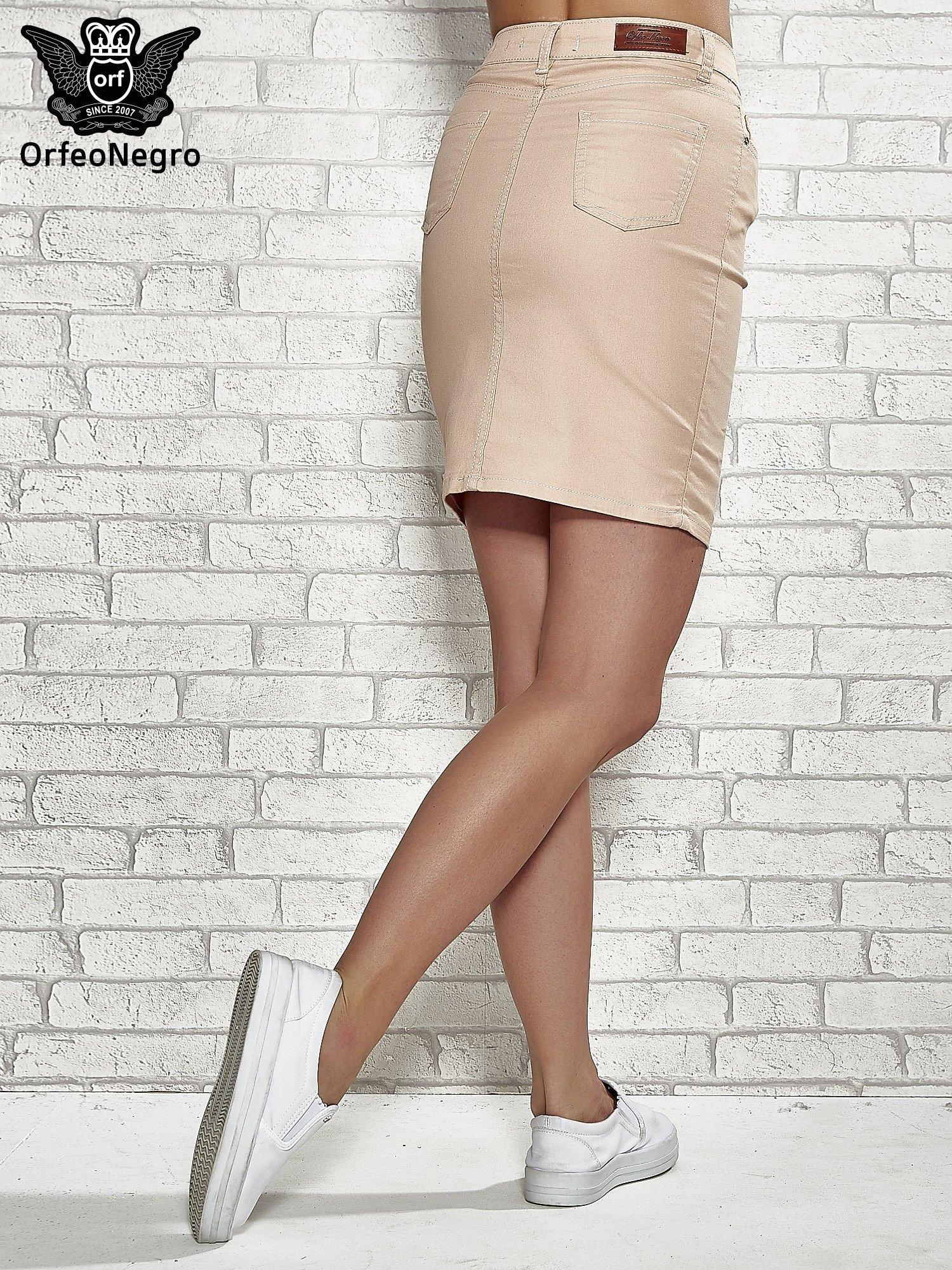 Jasnobrązowa spódnica z zapięciem na guzik                                  zdj.                                  4