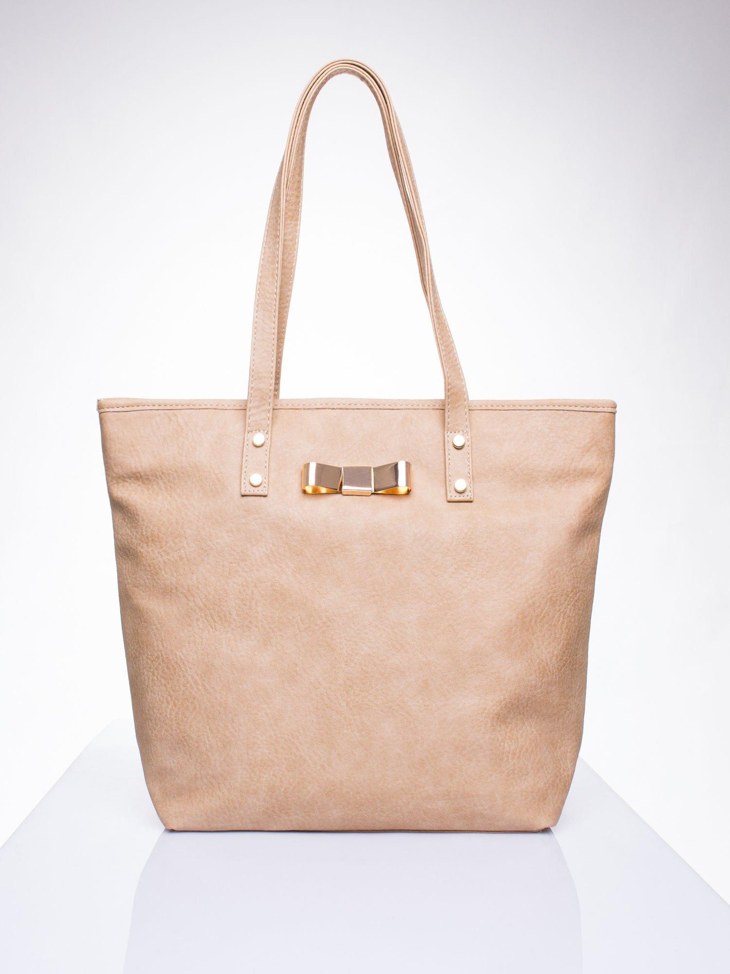 Jasnobrązowa torebka shopper bag z kokardką                                  zdj.                                  1