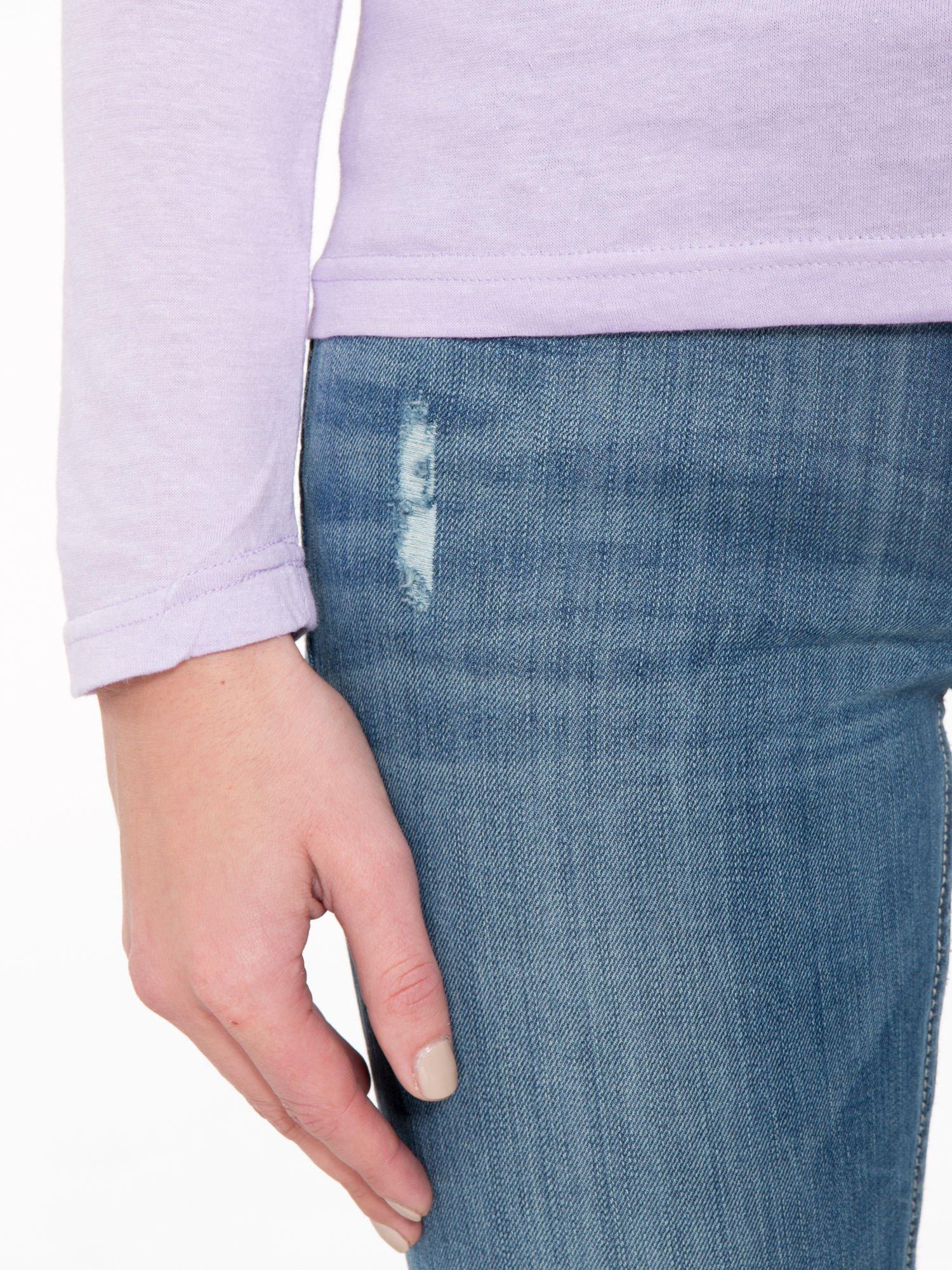 Jasnofioletowa bawełniana bluzka typu basic z długim rękawem                                  zdj.                                  6