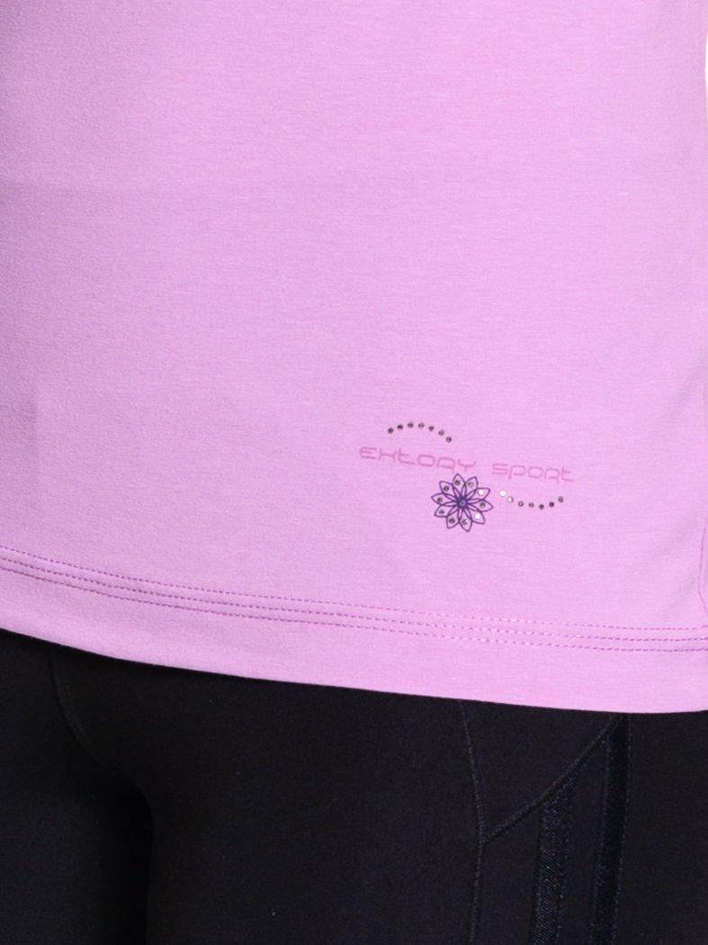 Jasnofioletowy damski t-shirt sportowy z marszczonym dekoltem                                  zdj.                                  5