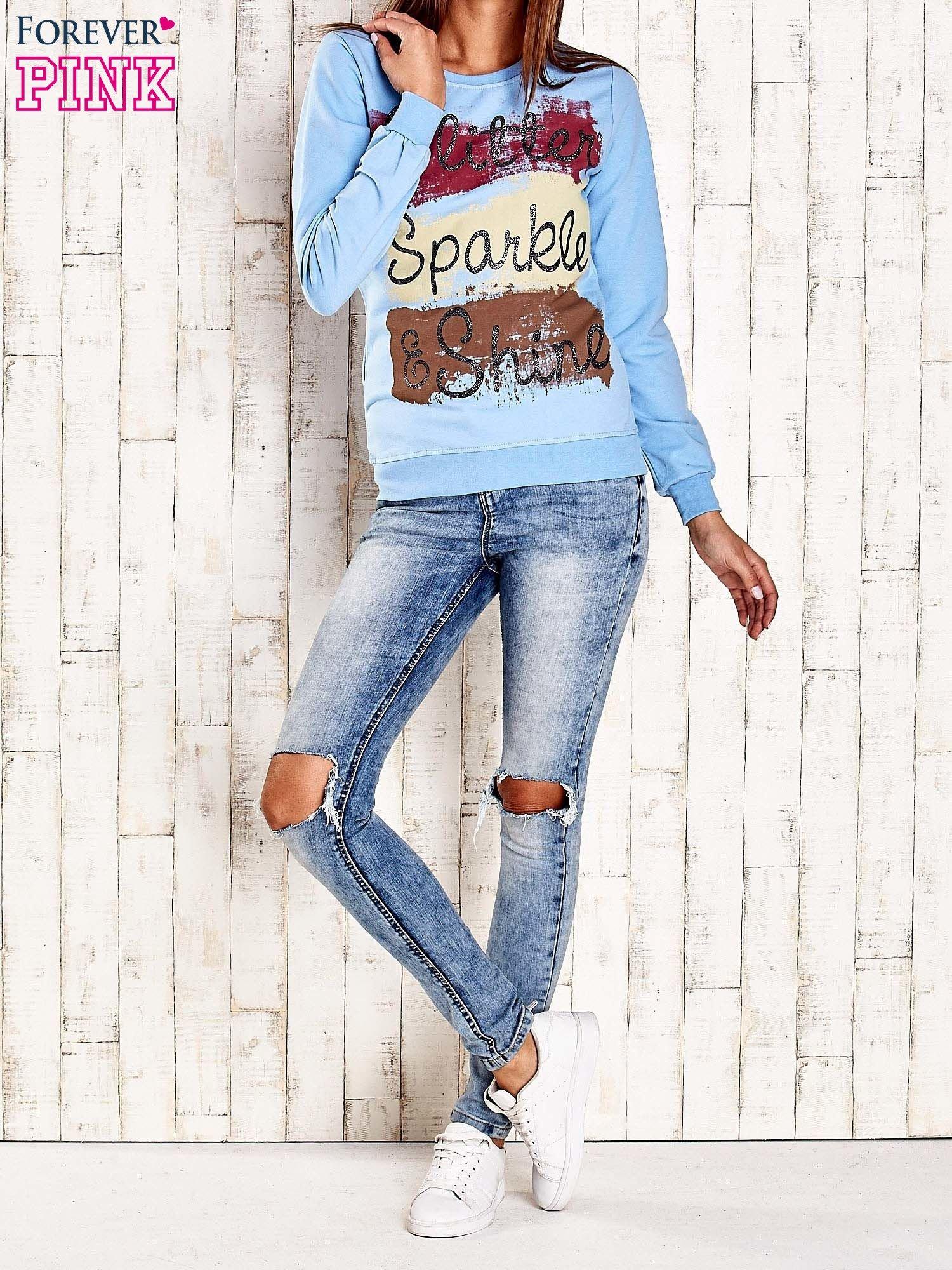 Jasnoniebieska bluza z napisem GLITTER SPARKLE SHINE                                  zdj.                                  4