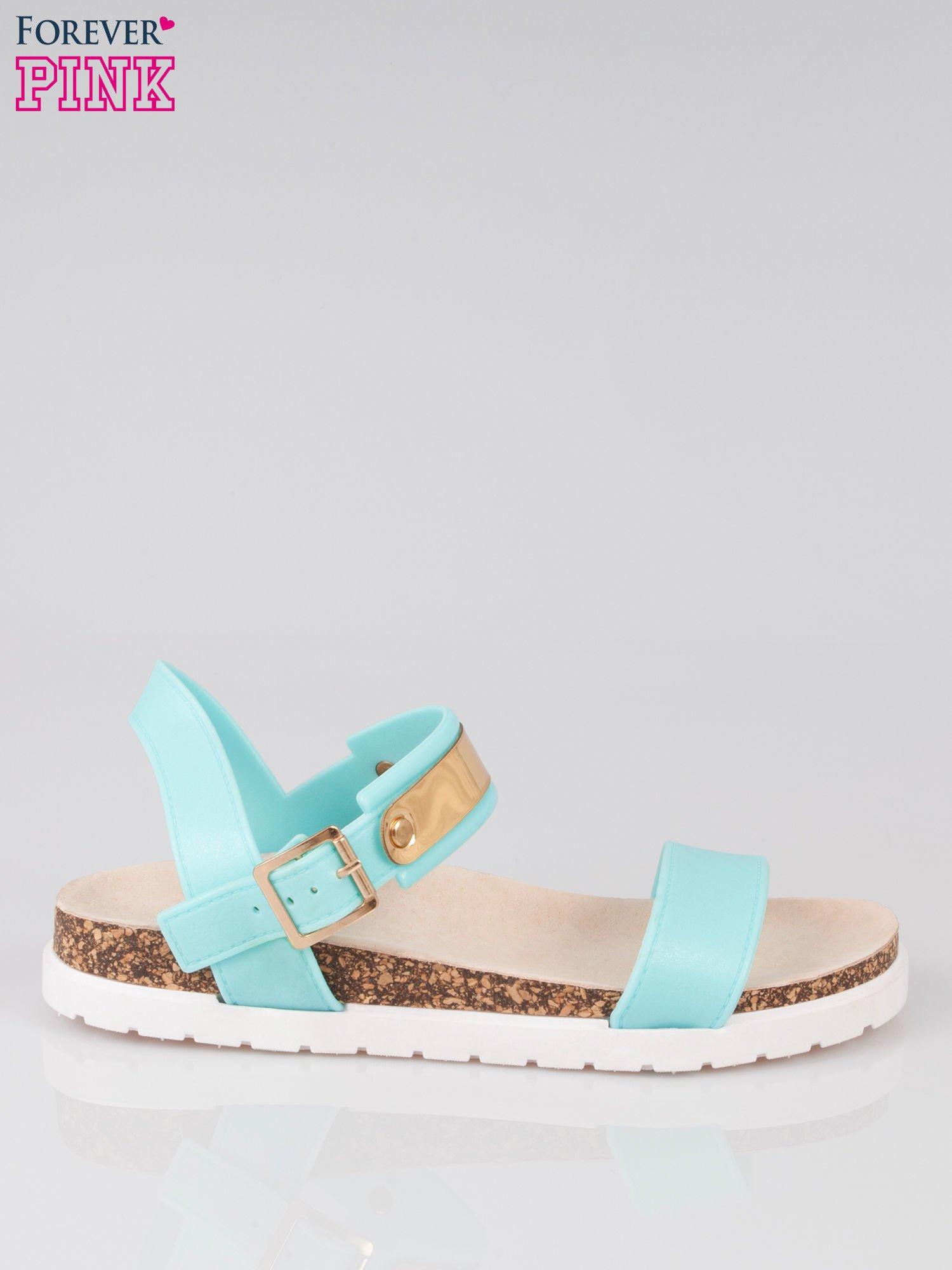 Jasnoniebieskie sandały damskie z blaszką                                  zdj.                                  1