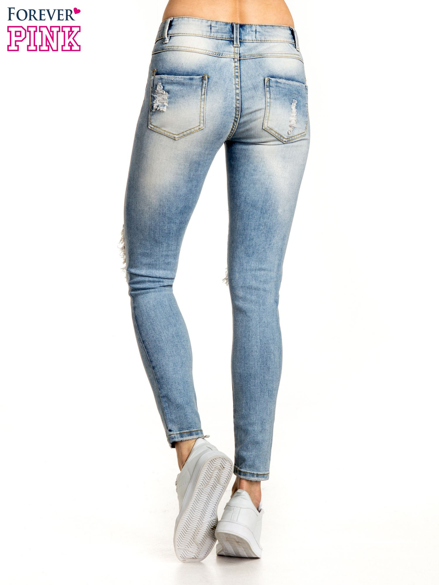 Jasnoniebieskie spodnie skinny jeans ripped knee                                  zdj.                                  3