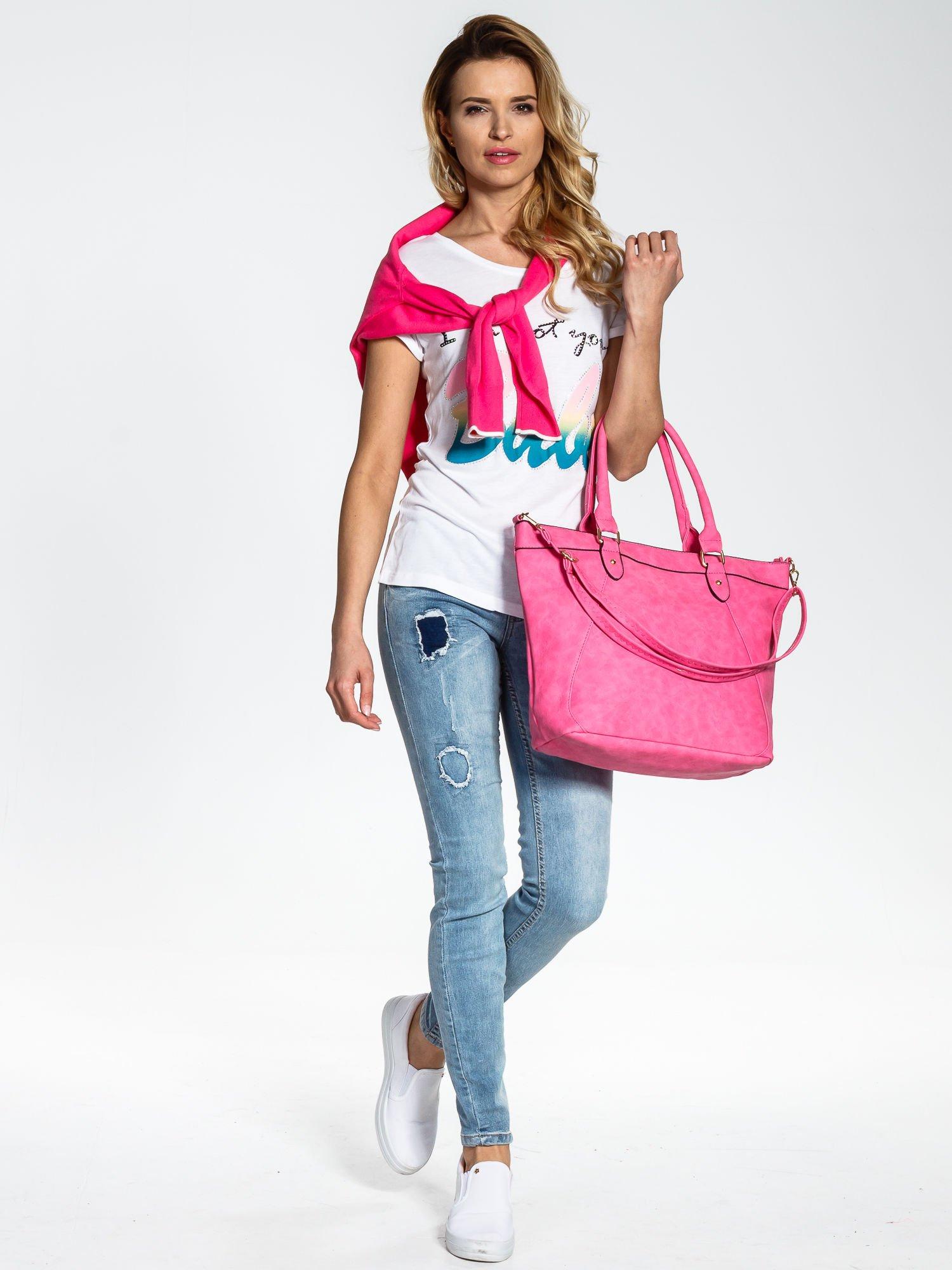 Jasnoróżoa torba city bag na ramię                                  zdj.                                  6