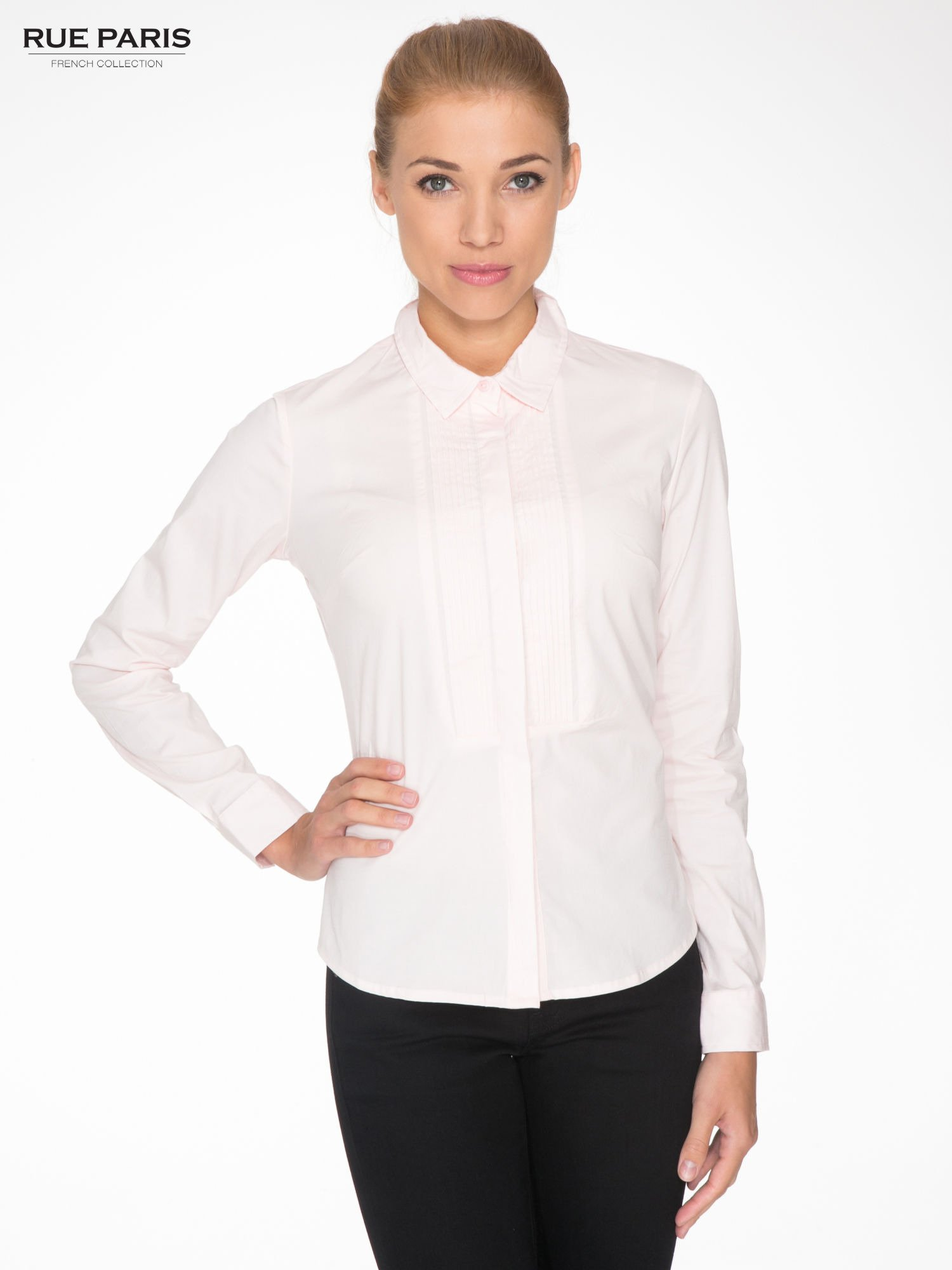 Jasnoróżowa elegancka koszula damska z marszczonym przodem                                  zdj.                                  1