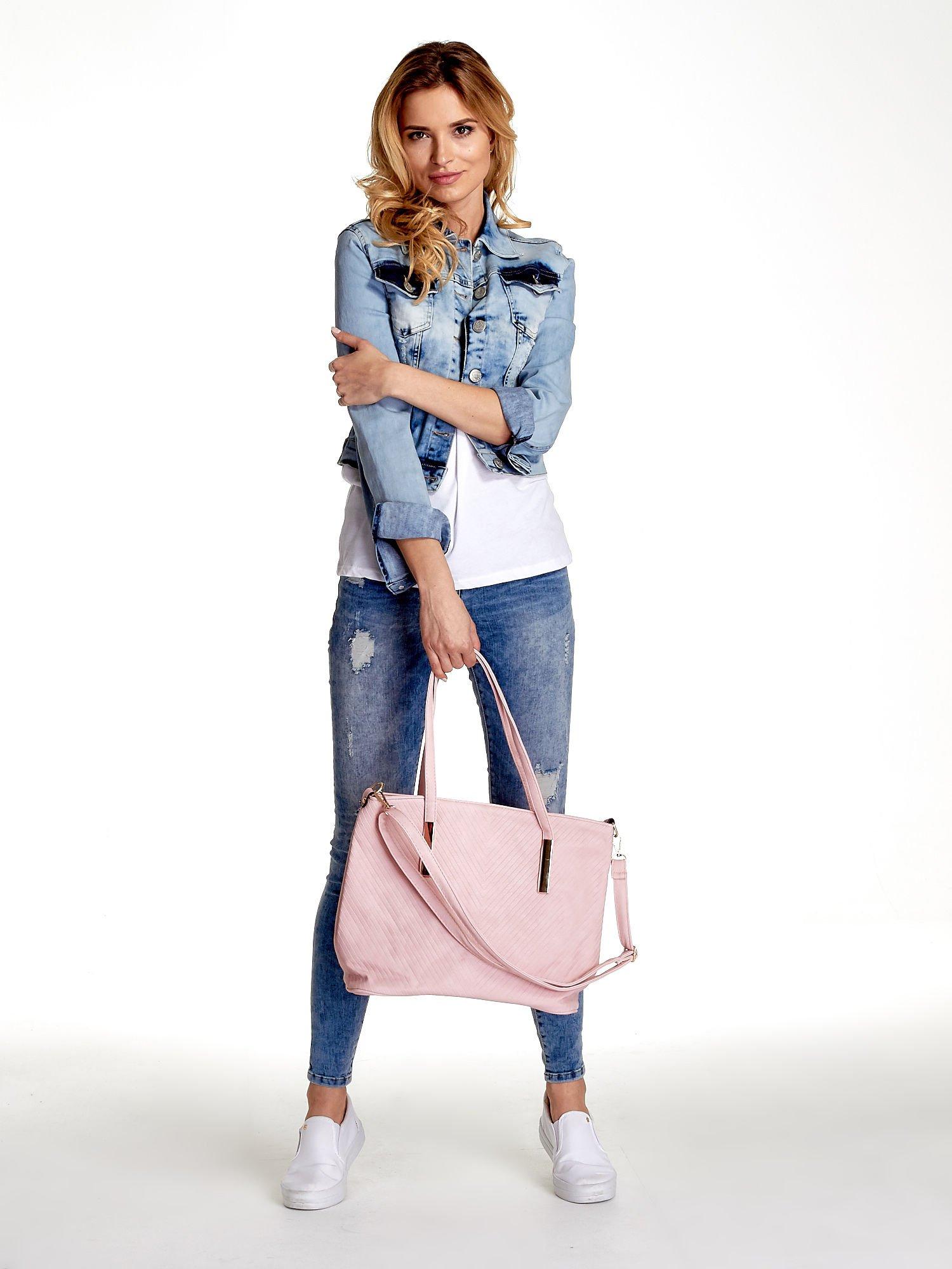 Jasnoróżowa fakturowana torba shopper bag                                  zdj.                                  2