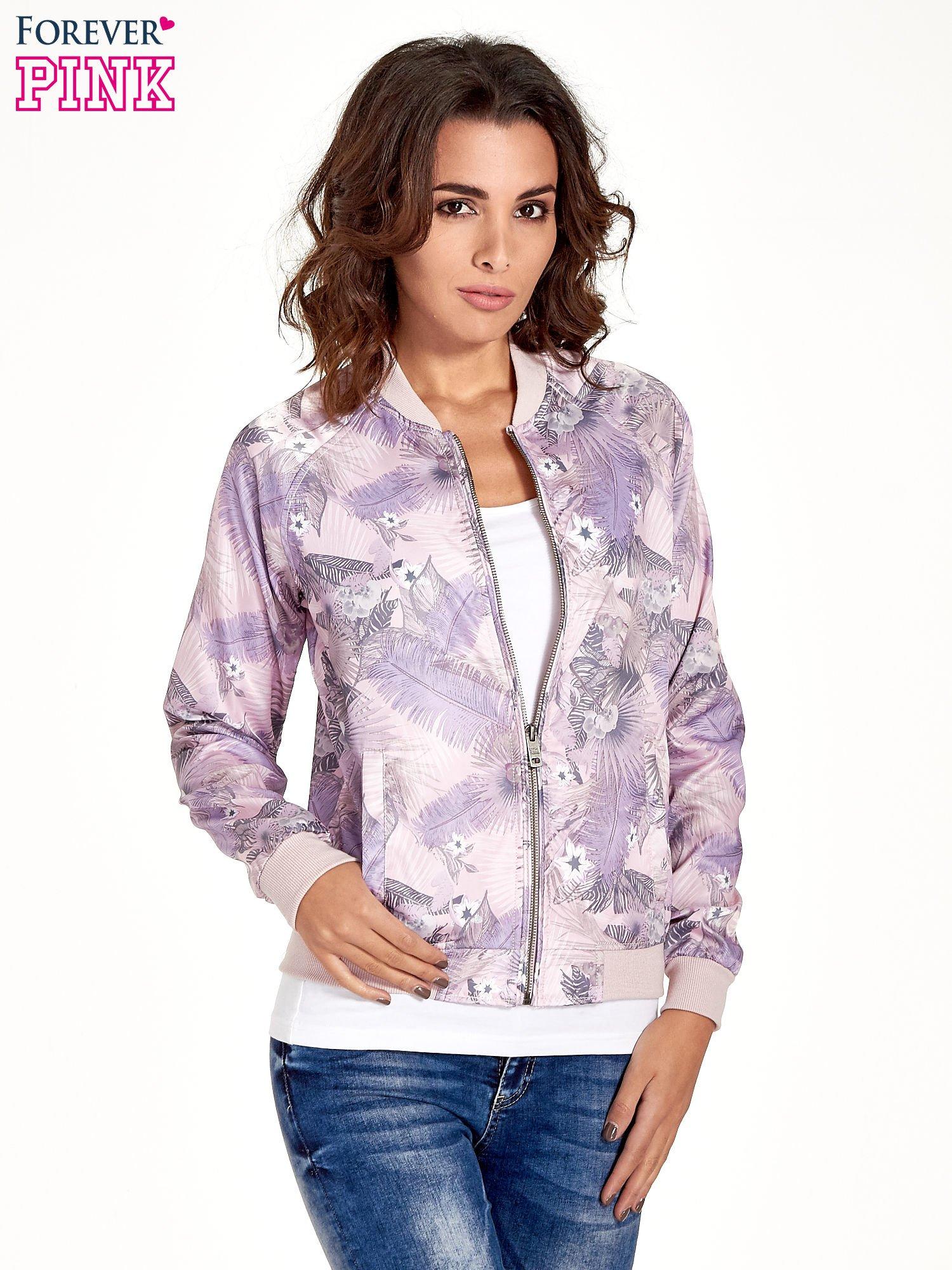 Jasnoróżowa kurtka bomber jacket w tropical print                                  zdj.                                  1
