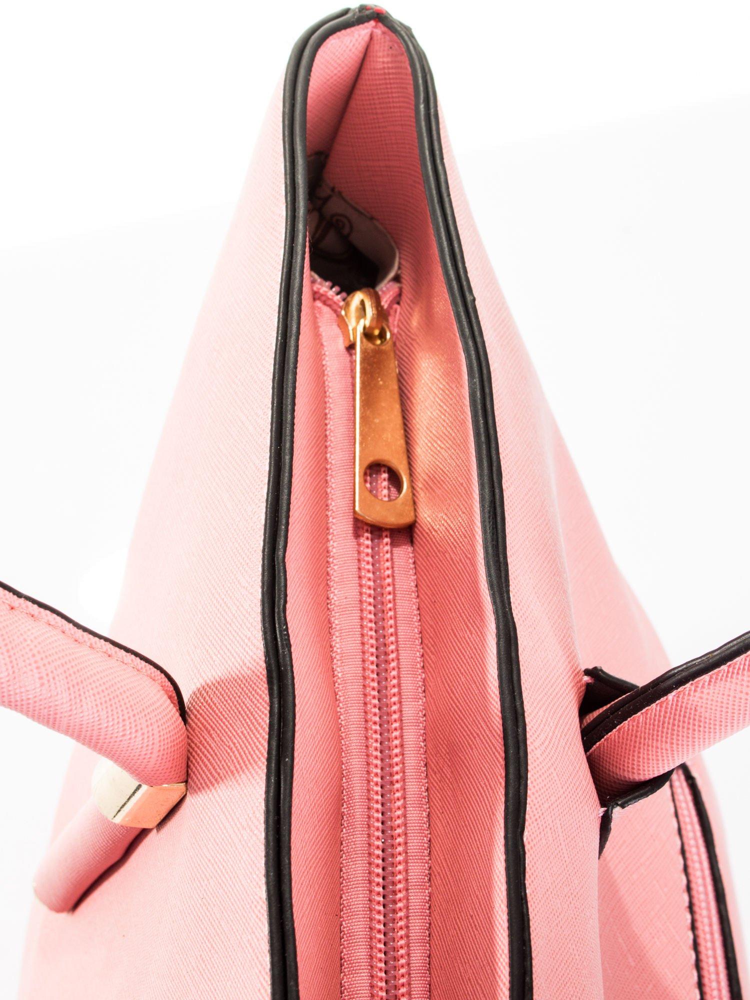 Jasnoróżowa torba shopper efekt saffiano                                  zdj.                                  8