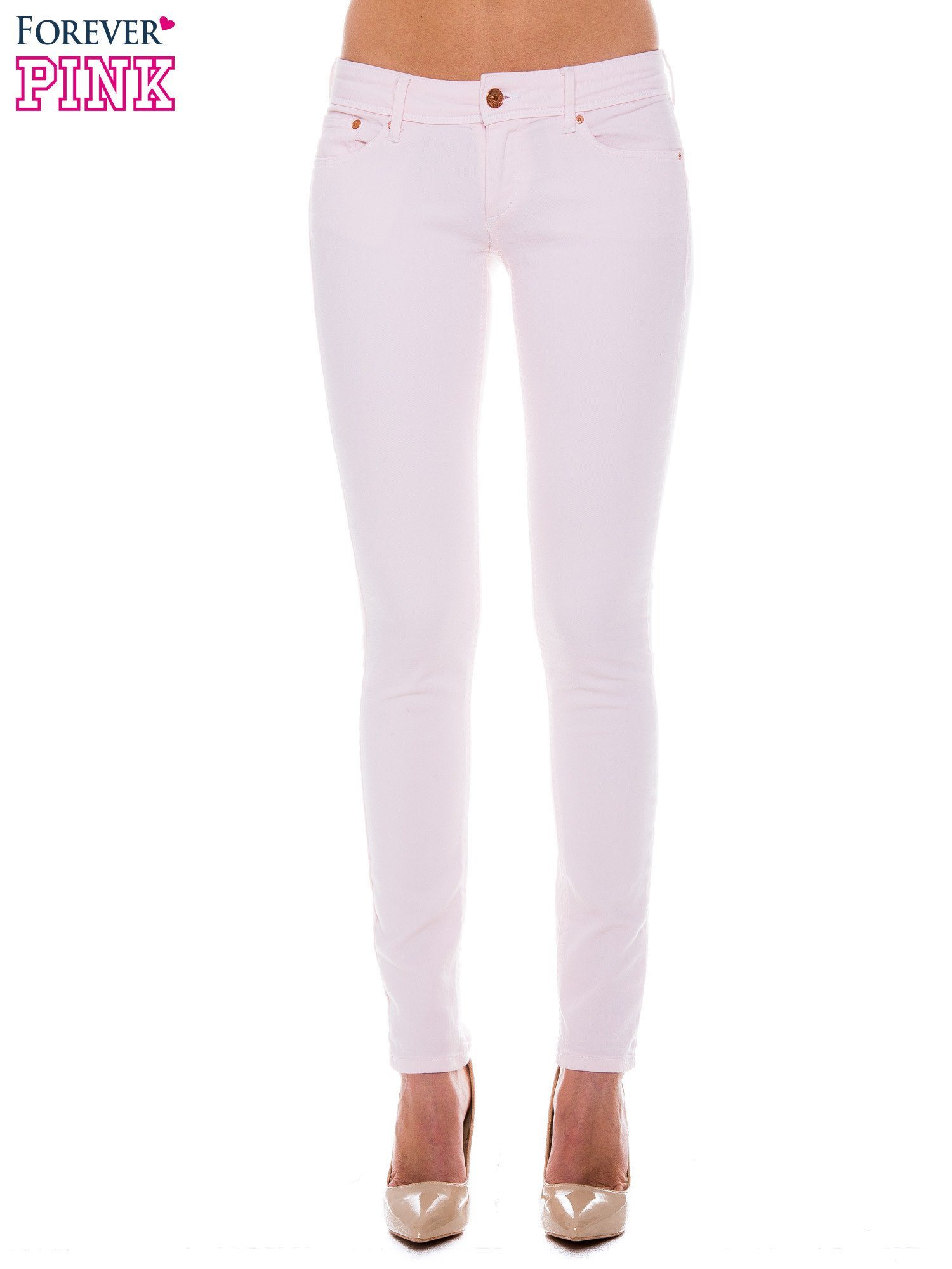 Jasnoróżowe spodnie jeansowe typu rurki                                  zdj.                                  1