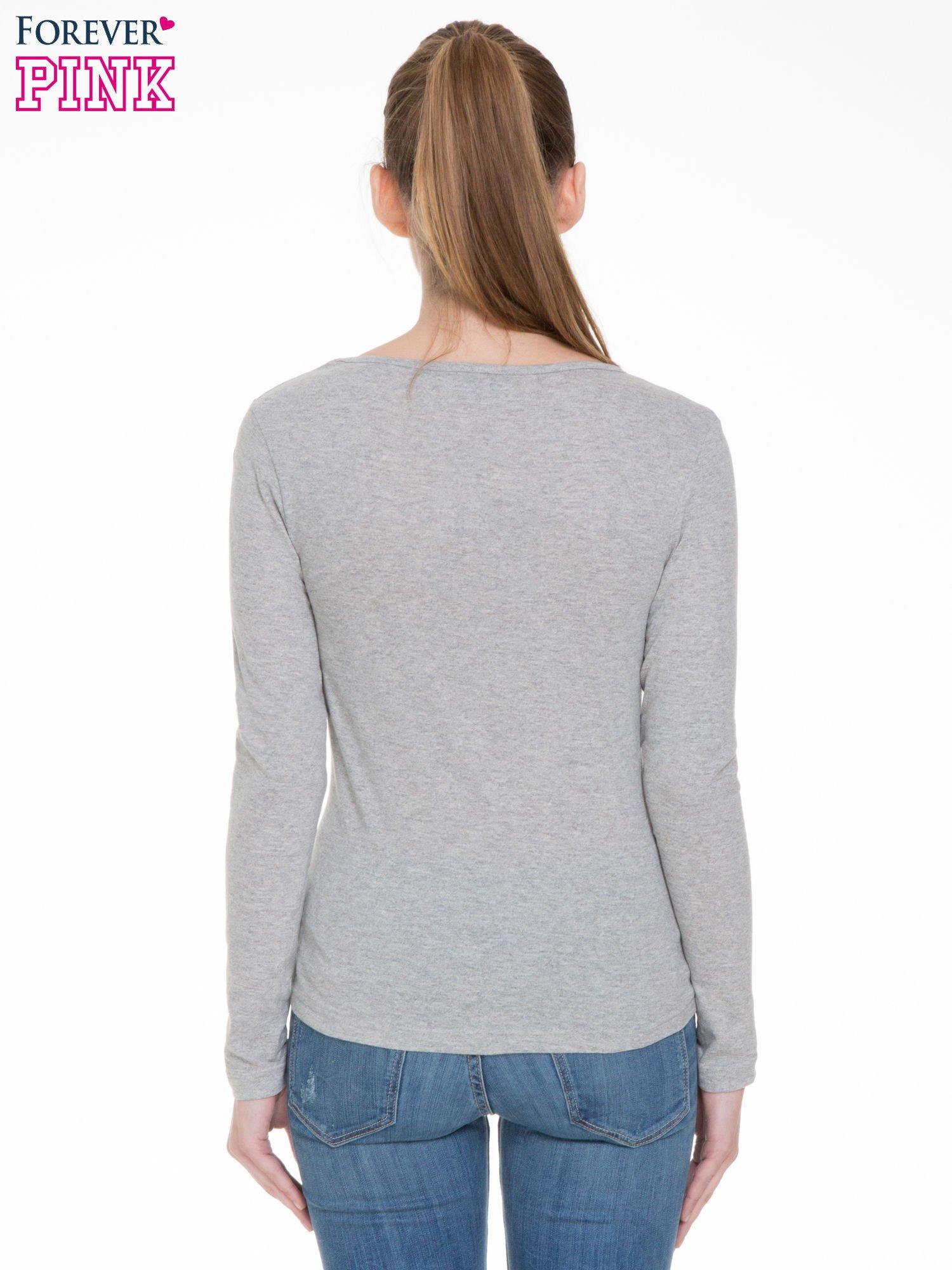 Jasnoszara bluzka z długim rękawem z bawełny                                  zdj.                                  4