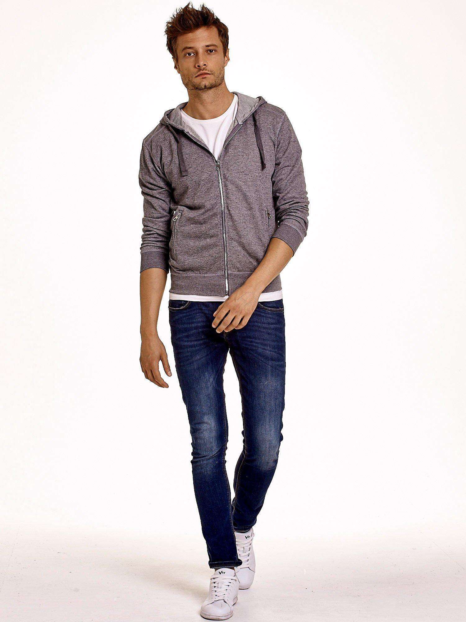 Jasnoszara melanżowa bluza męska z zasuwanymi kieszeniami                                  zdj.                                  3