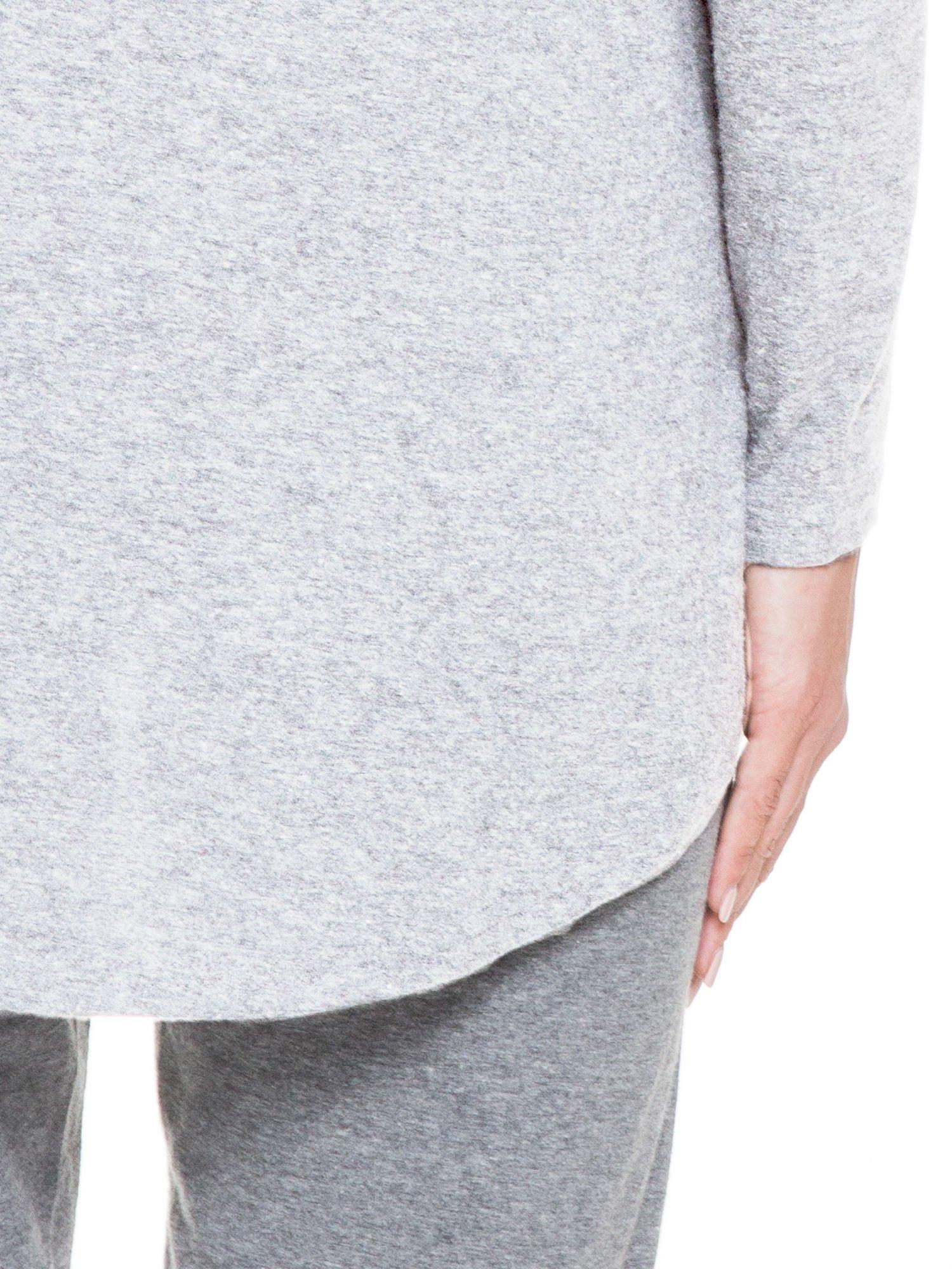 Jasnoszara otwarta bluza dresowa z kapturem                                  zdj.                                  6