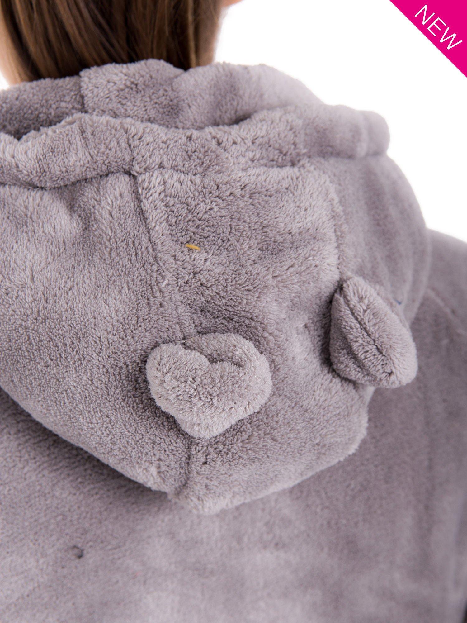 Jasnoszara pluszowa bluza z kapturem z uszkami i pomponami                                  zdj.                                  9