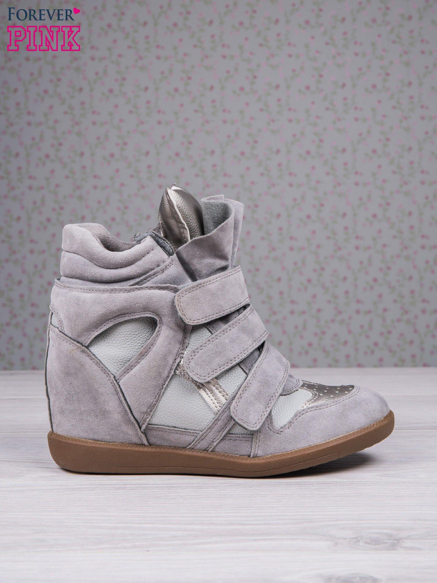Jasnoszare zamszowe sneakersy na rzepy Axis z wstawkami                                  zdj.                                  2